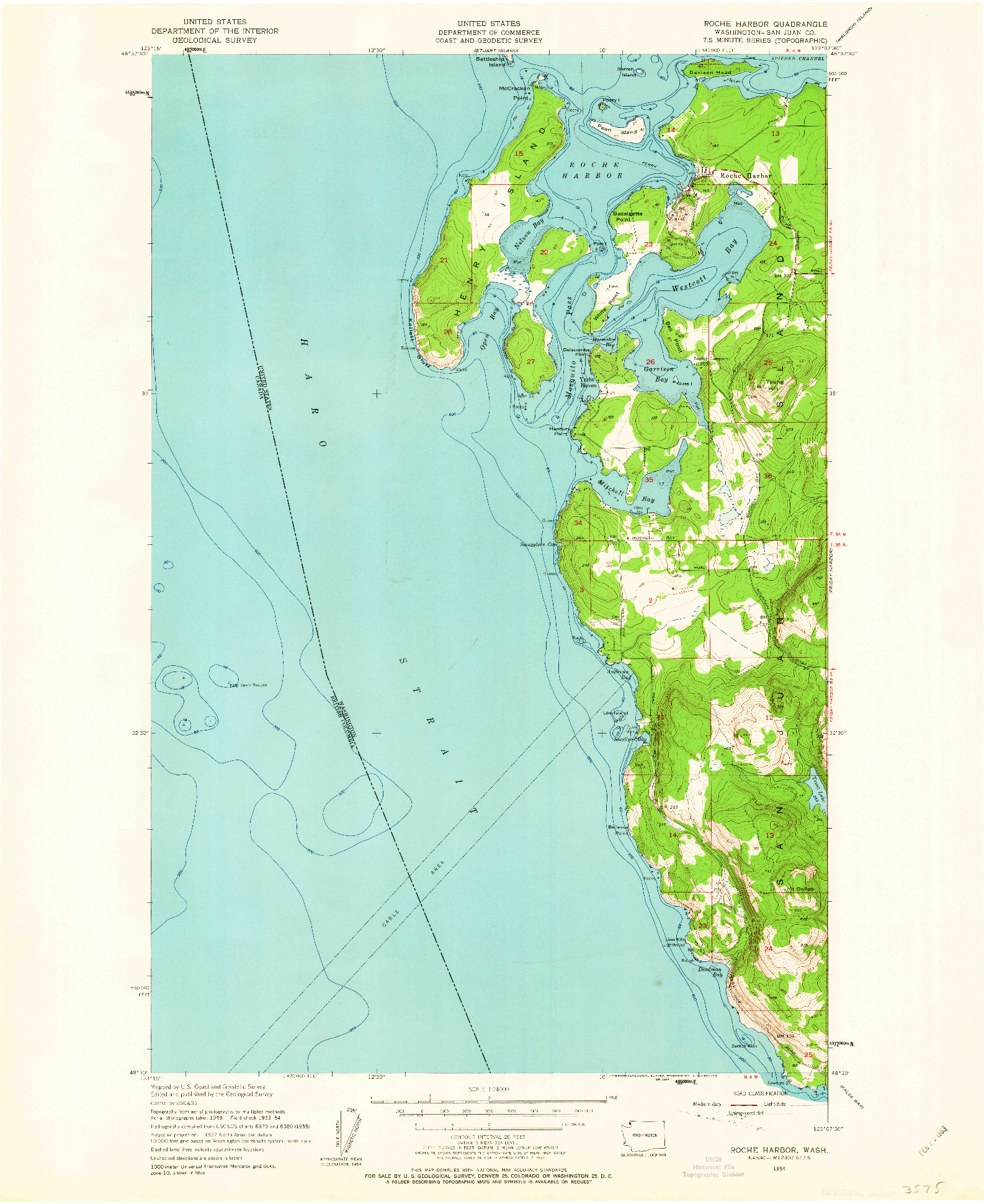 USGS 1:24000-SCALE QUADRANGLE FOR ROCHE HARBOR, WA 1954