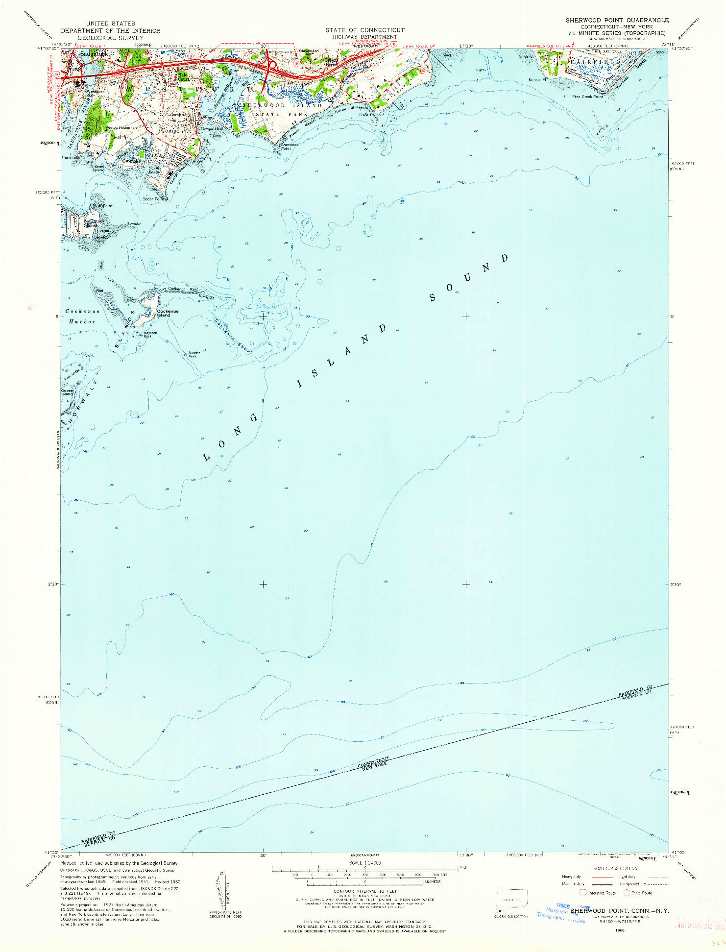 USGS 1:24000-SCALE QUADRANGLE FOR SHERWOOD POINT, CT 1960