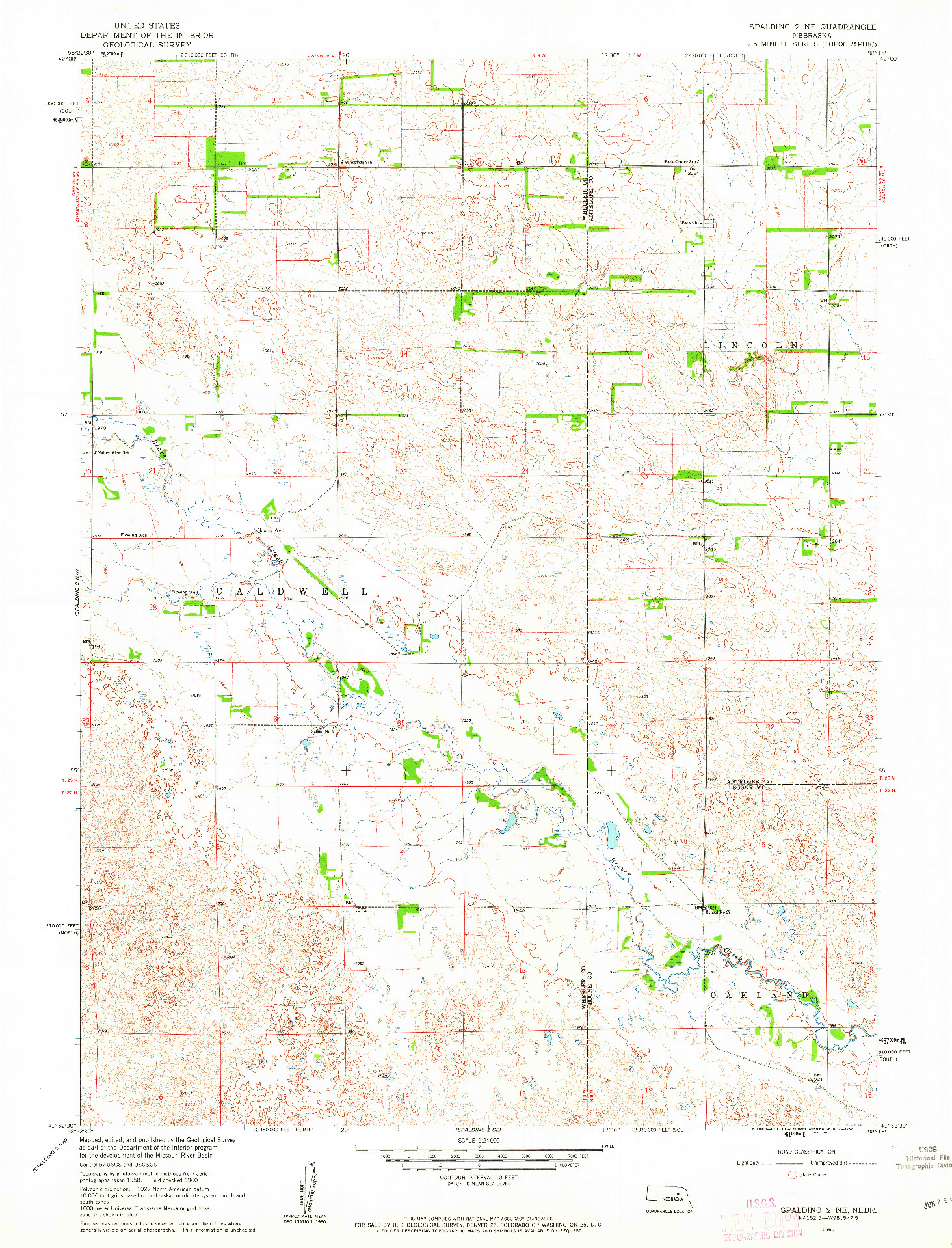 USGS 1:24000-SCALE QUADRANGLE FOR SPALDING 2 NE, NE 1960