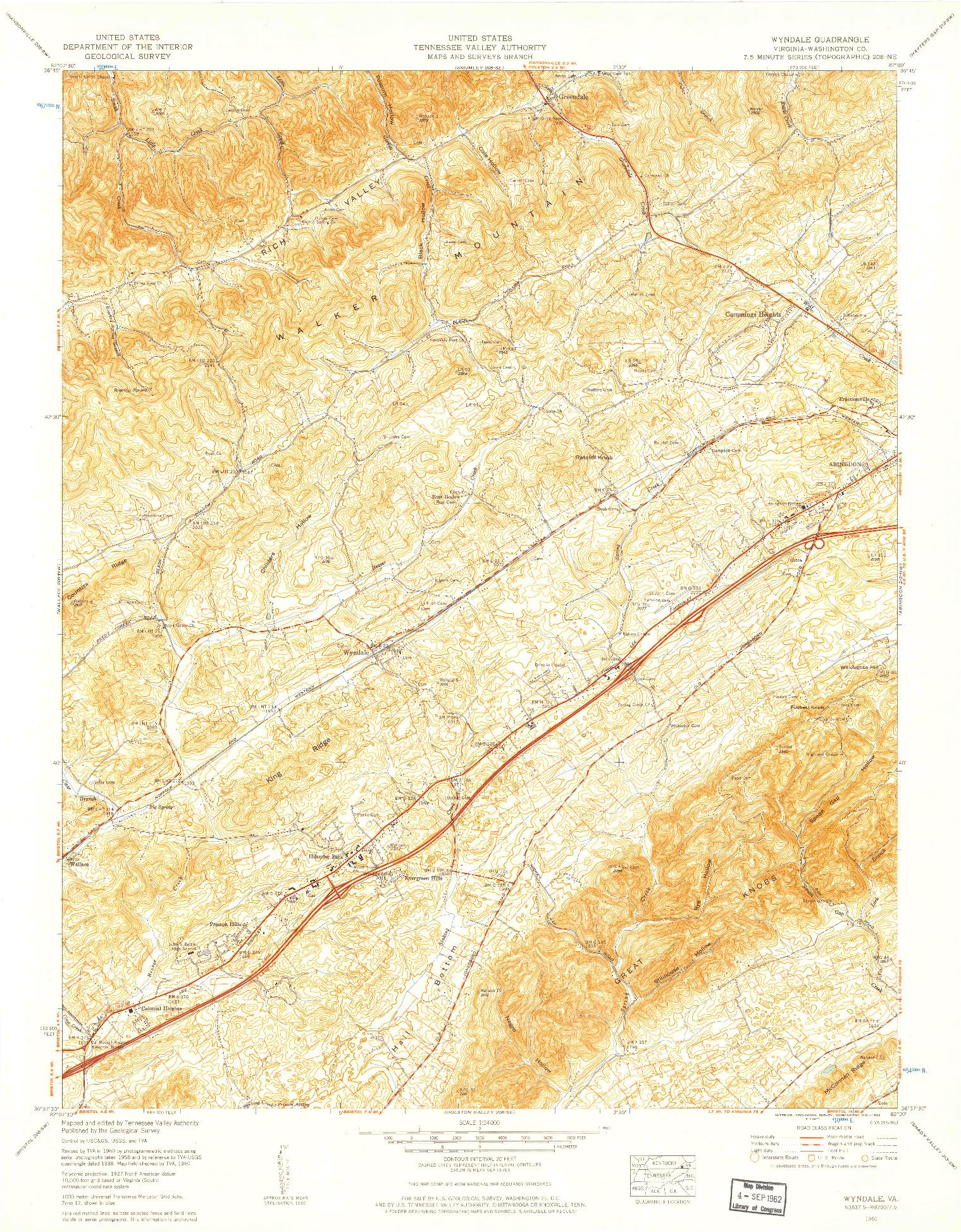 USGS 1:24000-SCALE QUADRANGLE FOR WYNDALE, VA 1960