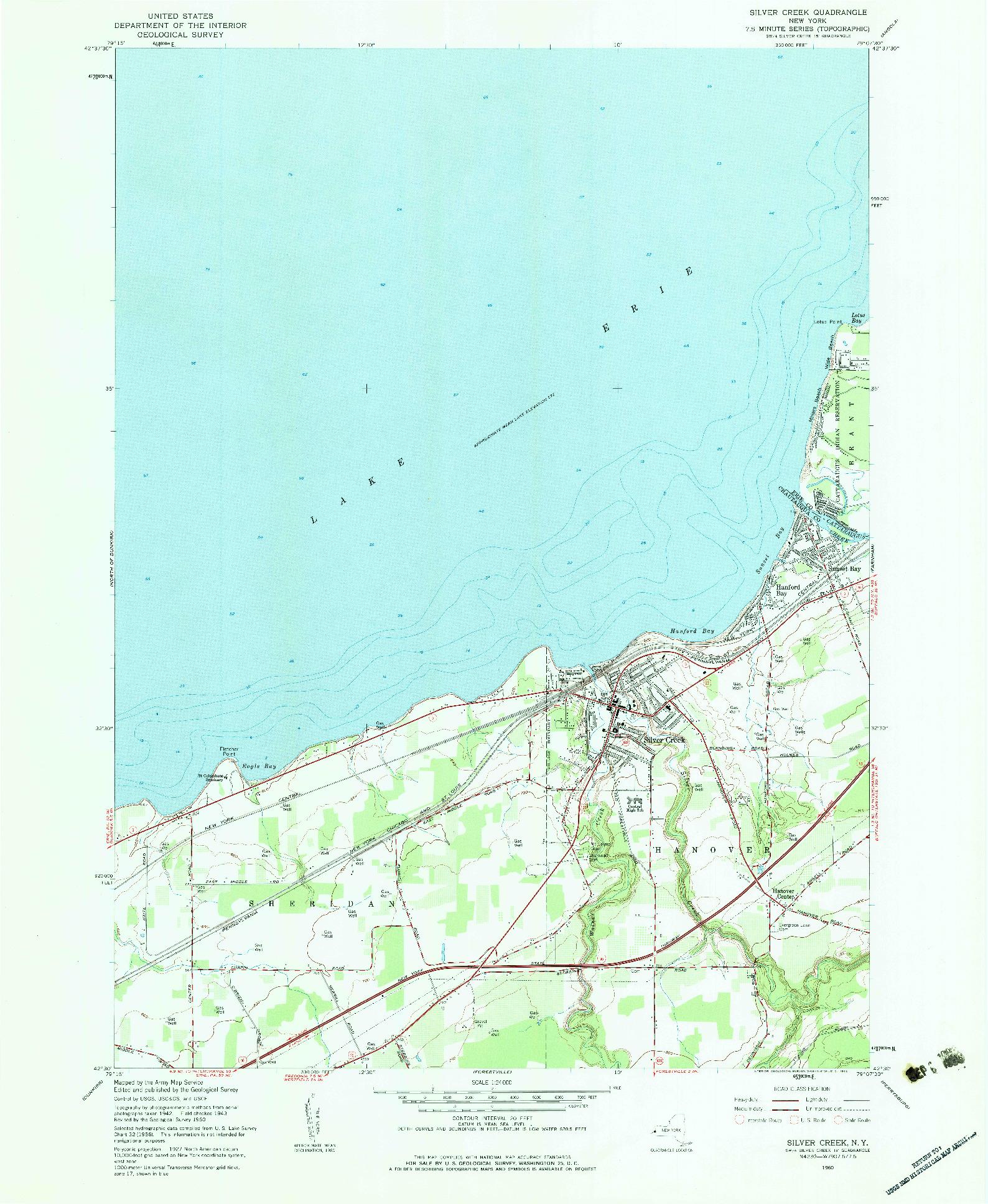 USGS 1:24000-SCALE QUADRANGLE FOR SILVER CREEK, NY 1960