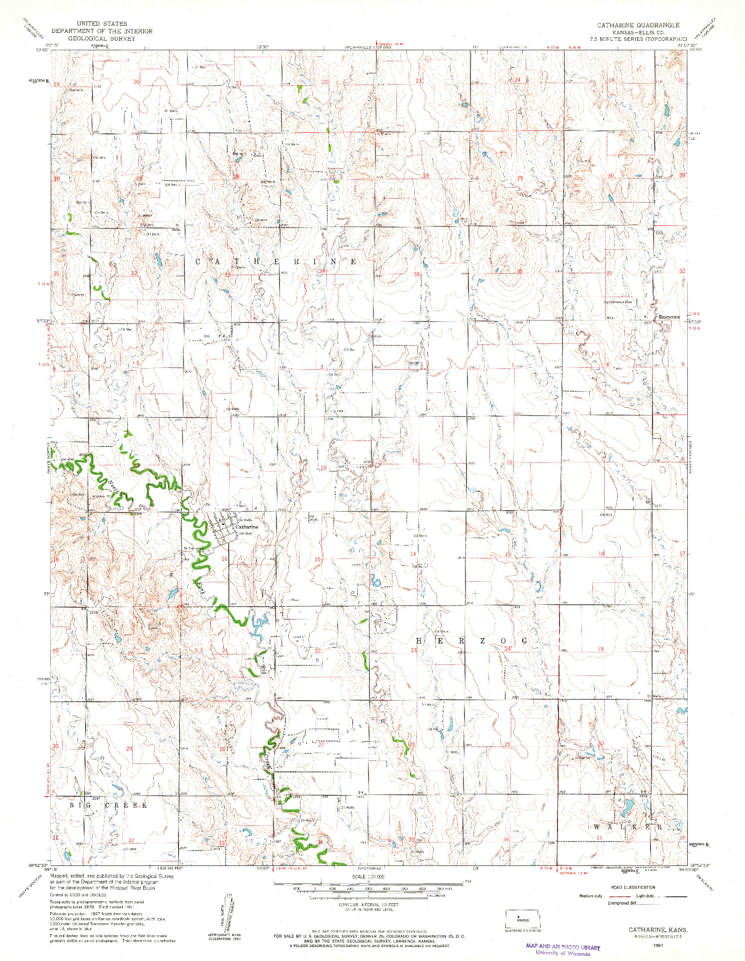 USGS 1:24000-SCALE QUADRANGLE FOR CATHARINE, KS 1961