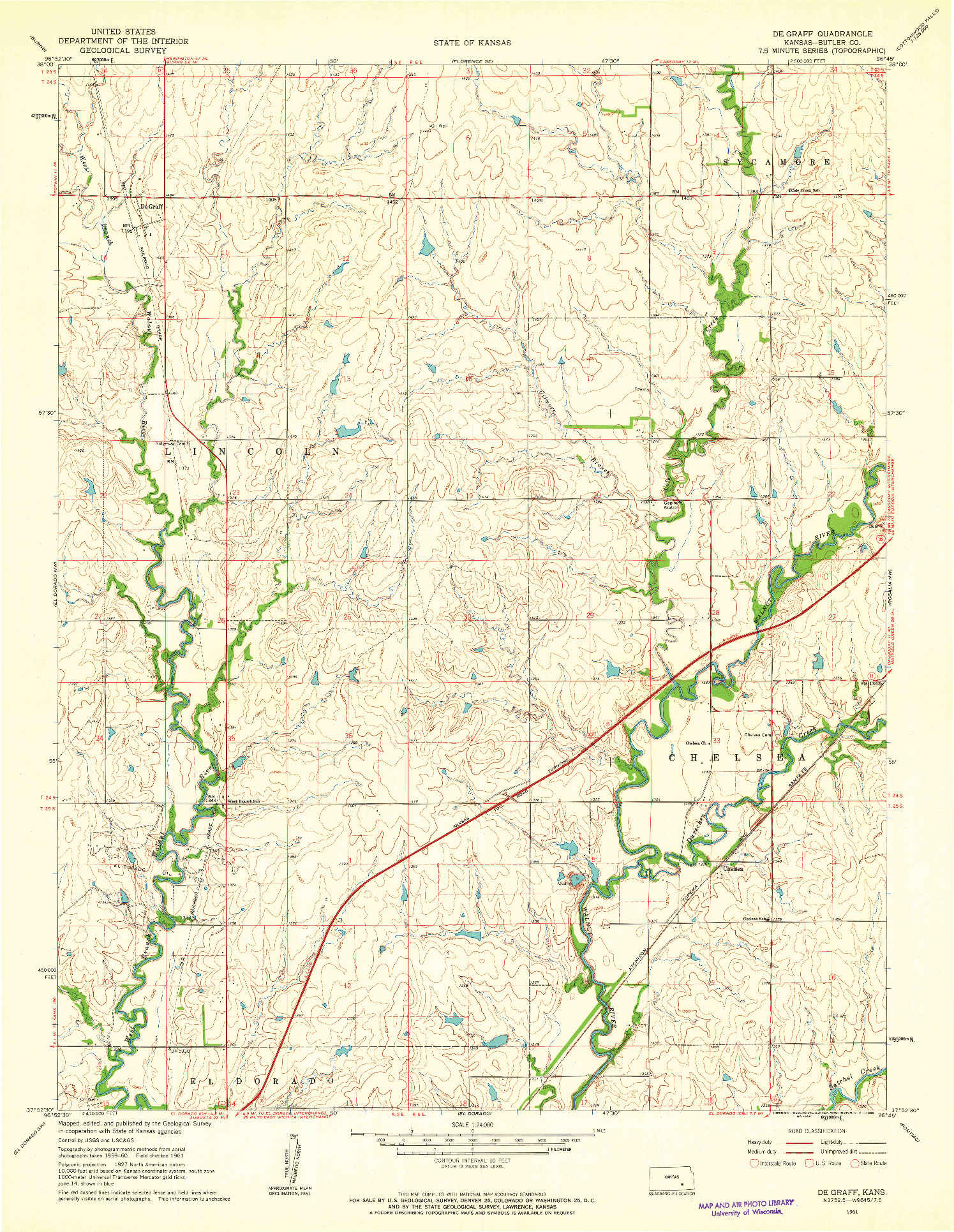 USGS 1:24000-SCALE QUADRANGLE FOR DE GRAFF, KS 1961