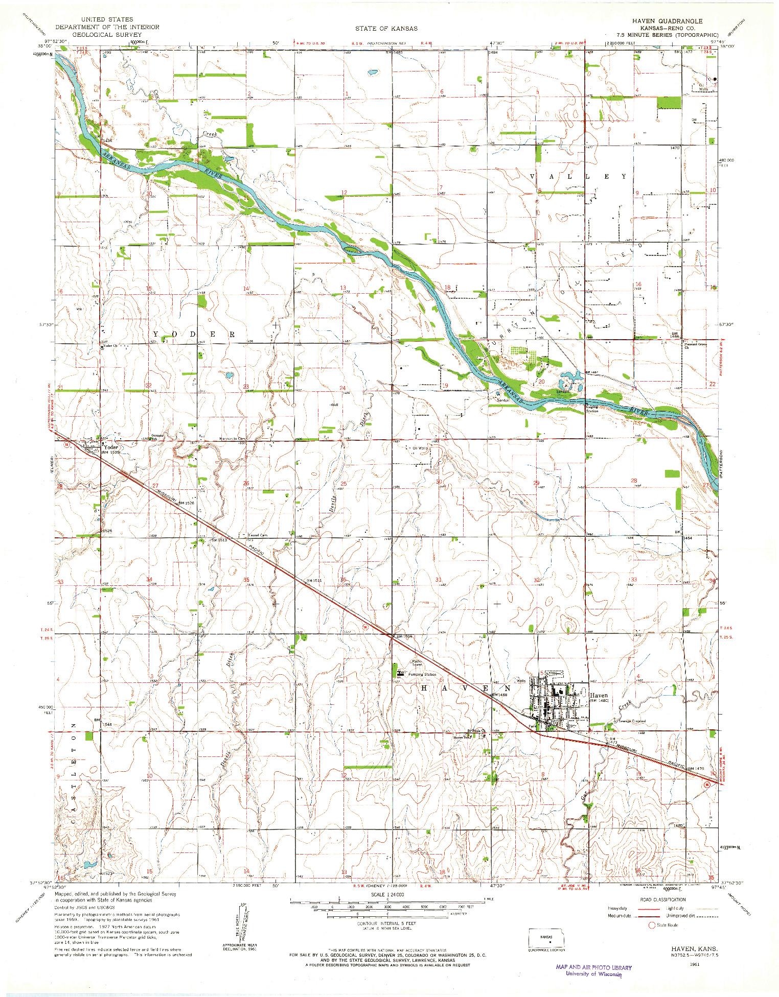 USGS 1:24000-SCALE QUADRANGLE FOR HAVEN, KS 1961