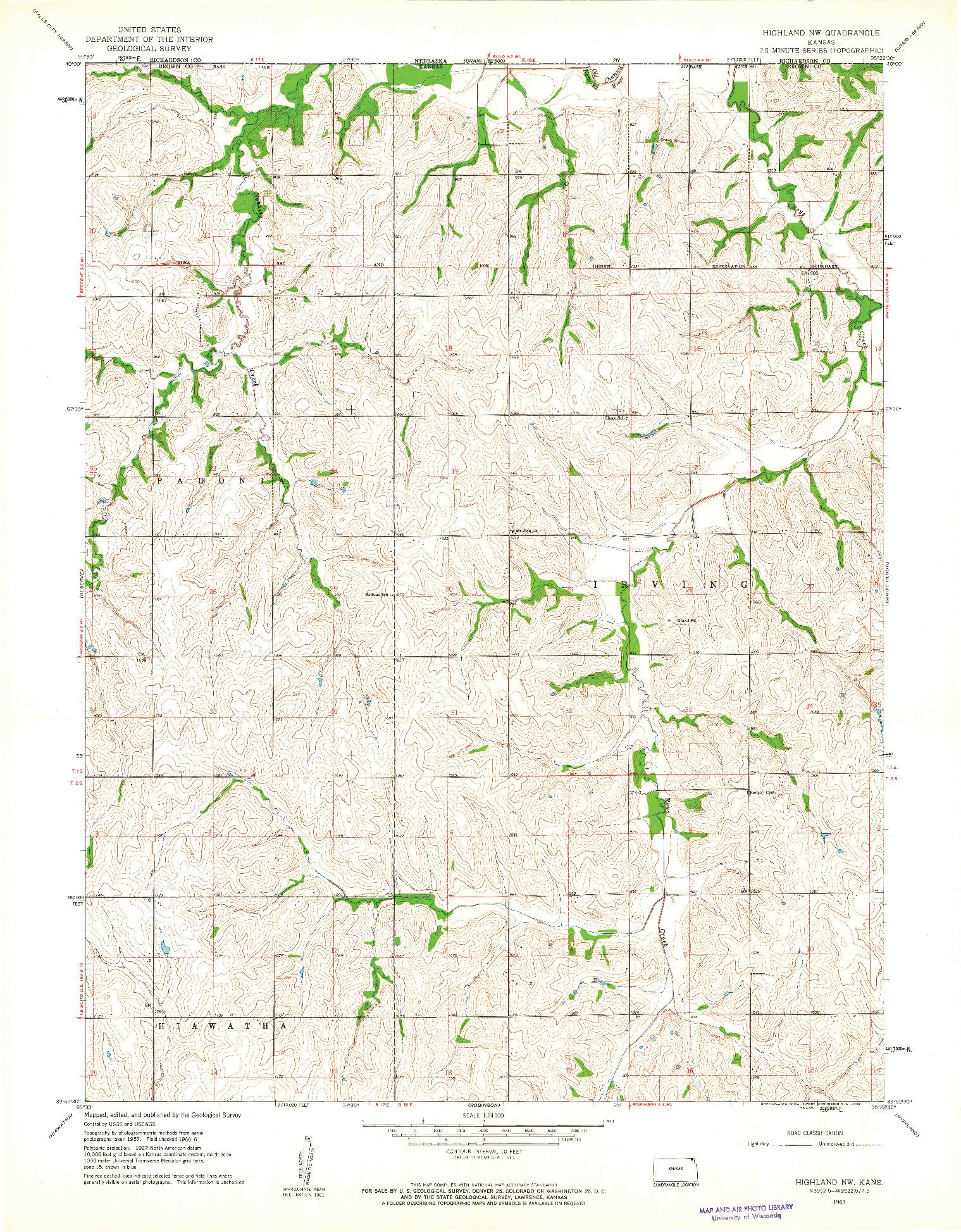 USGS 1:24000-SCALE QUADRANGLE FOR HIGHLAND NW, KS 1961