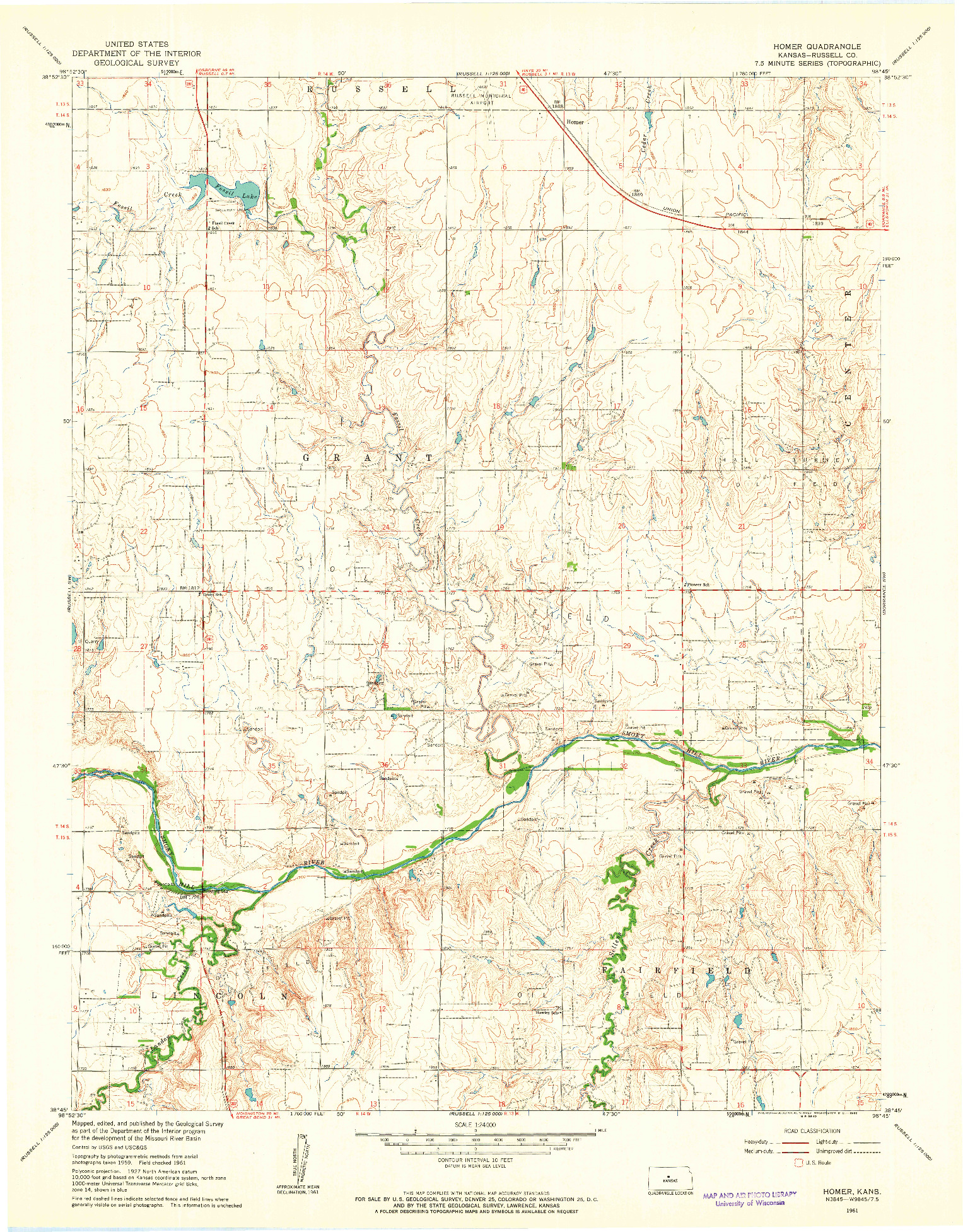 USGS 1:24000-SCALE QUADRANGLE FOR HOMER, KS 1961
