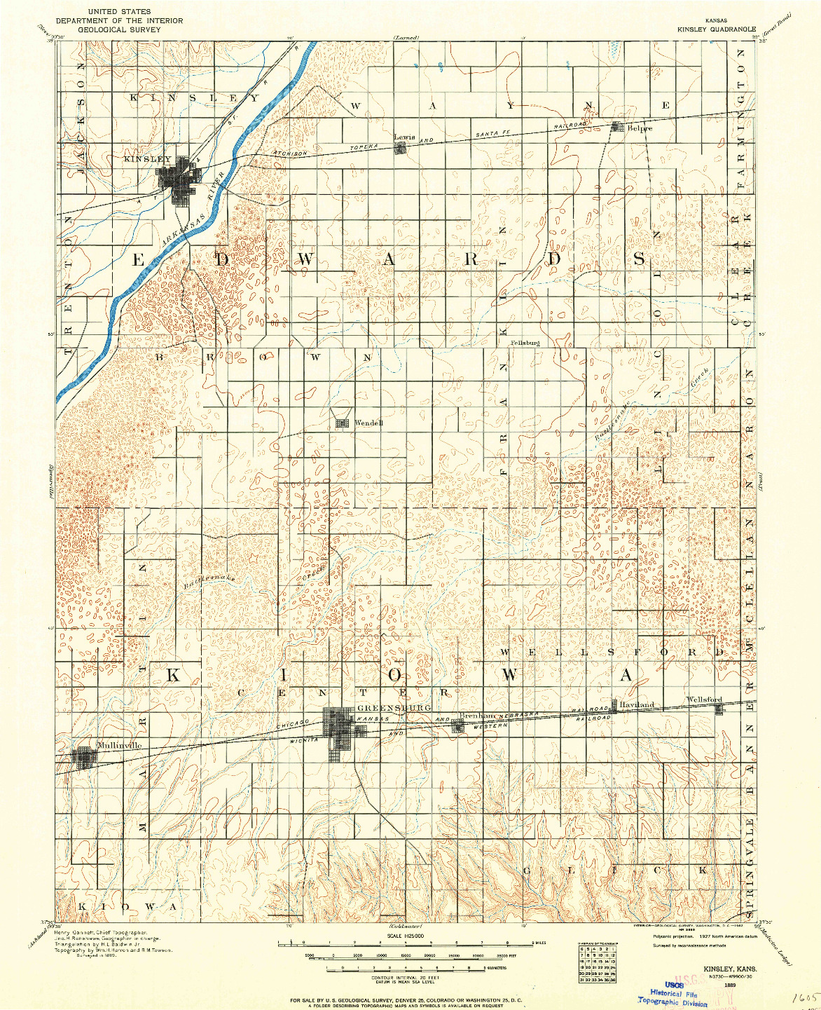 USGS 1:125000-SCALE QUADRANGLE FOR KINSLEY, KS 1889