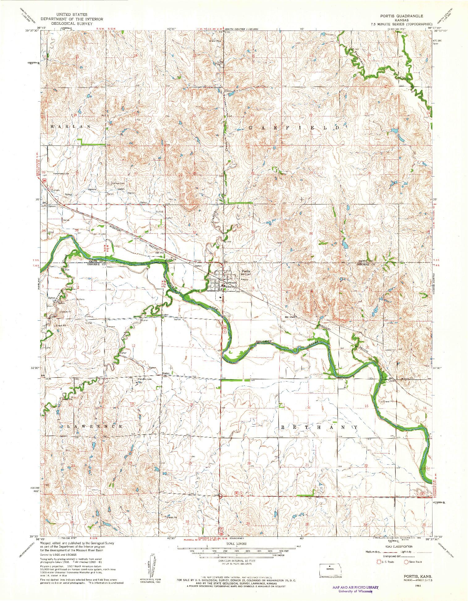 USGS 1:24000-SCALE QUADRANGLE FOR PORTIS, KS 1961