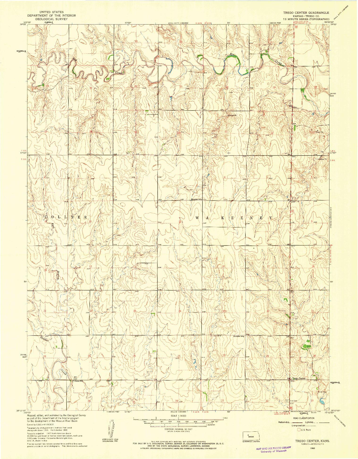 USGS 1:24000-SCALE QUADRANGLE FOR TREGO CENTER, KS 1960