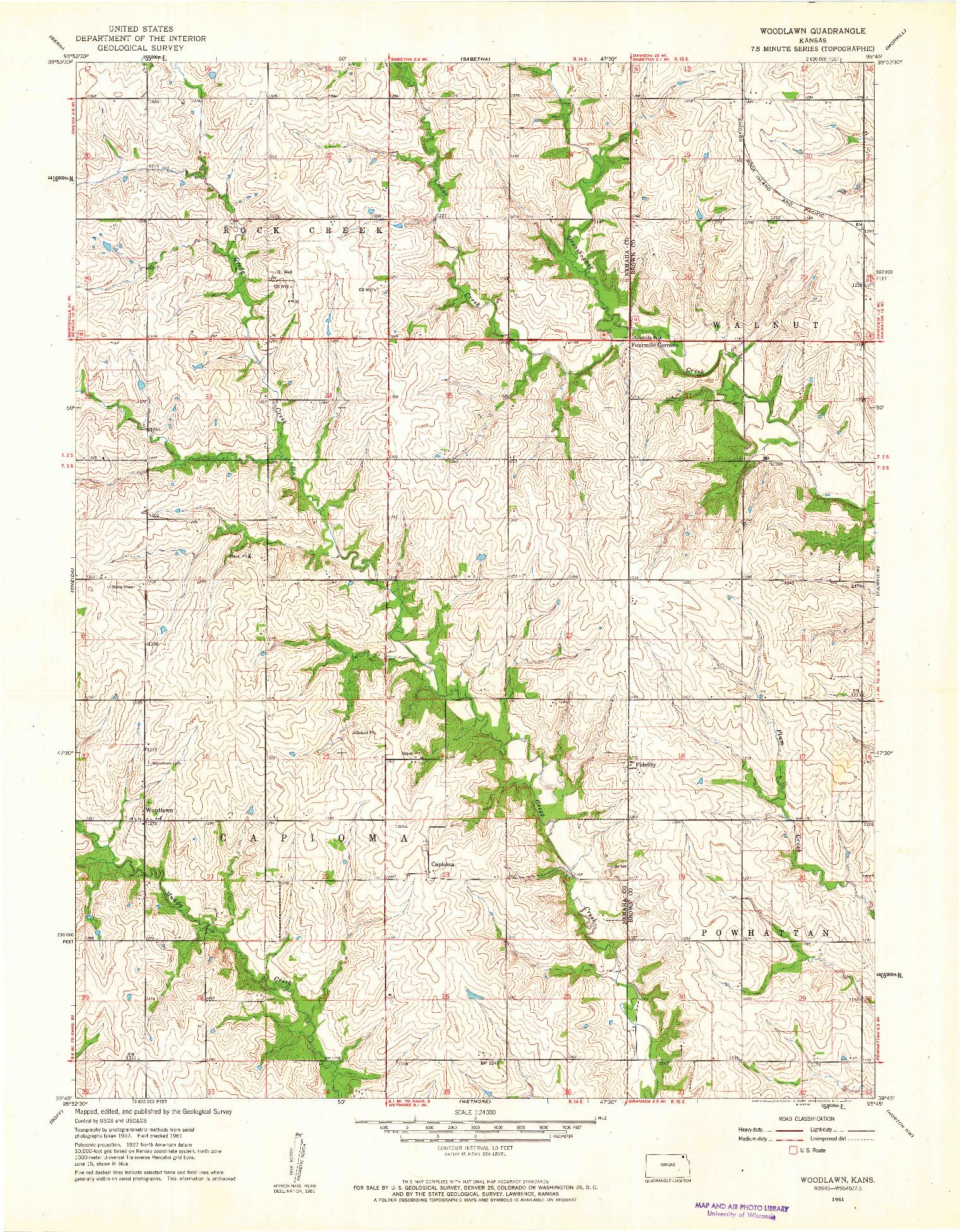 USGS 1:24000-SCALE QUADRANGLE FOR WOODLAWN, KS 1961