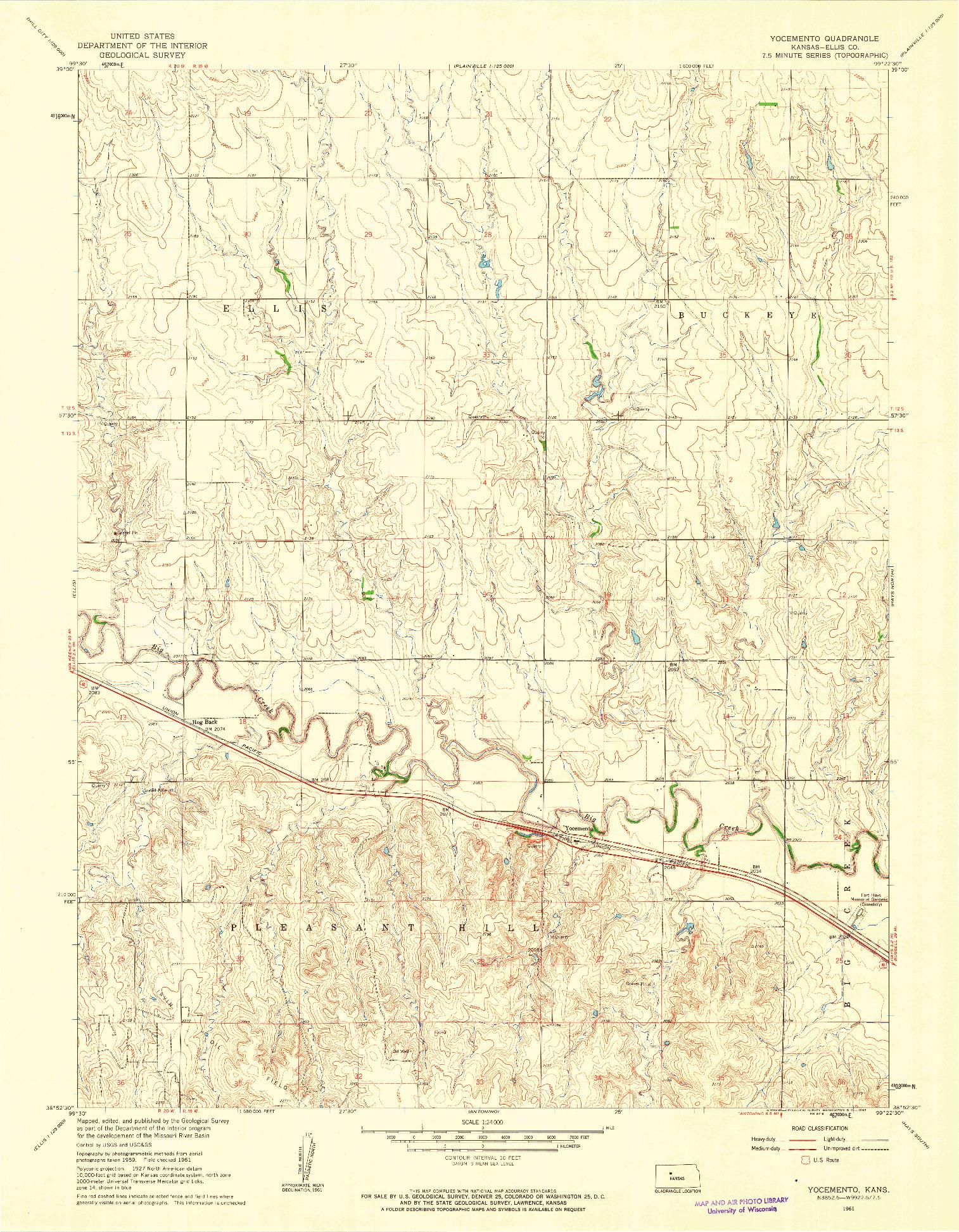 USGS 1:24000-SCALE QUADRANGLE FOR YOCEMENTO, KS 1961
