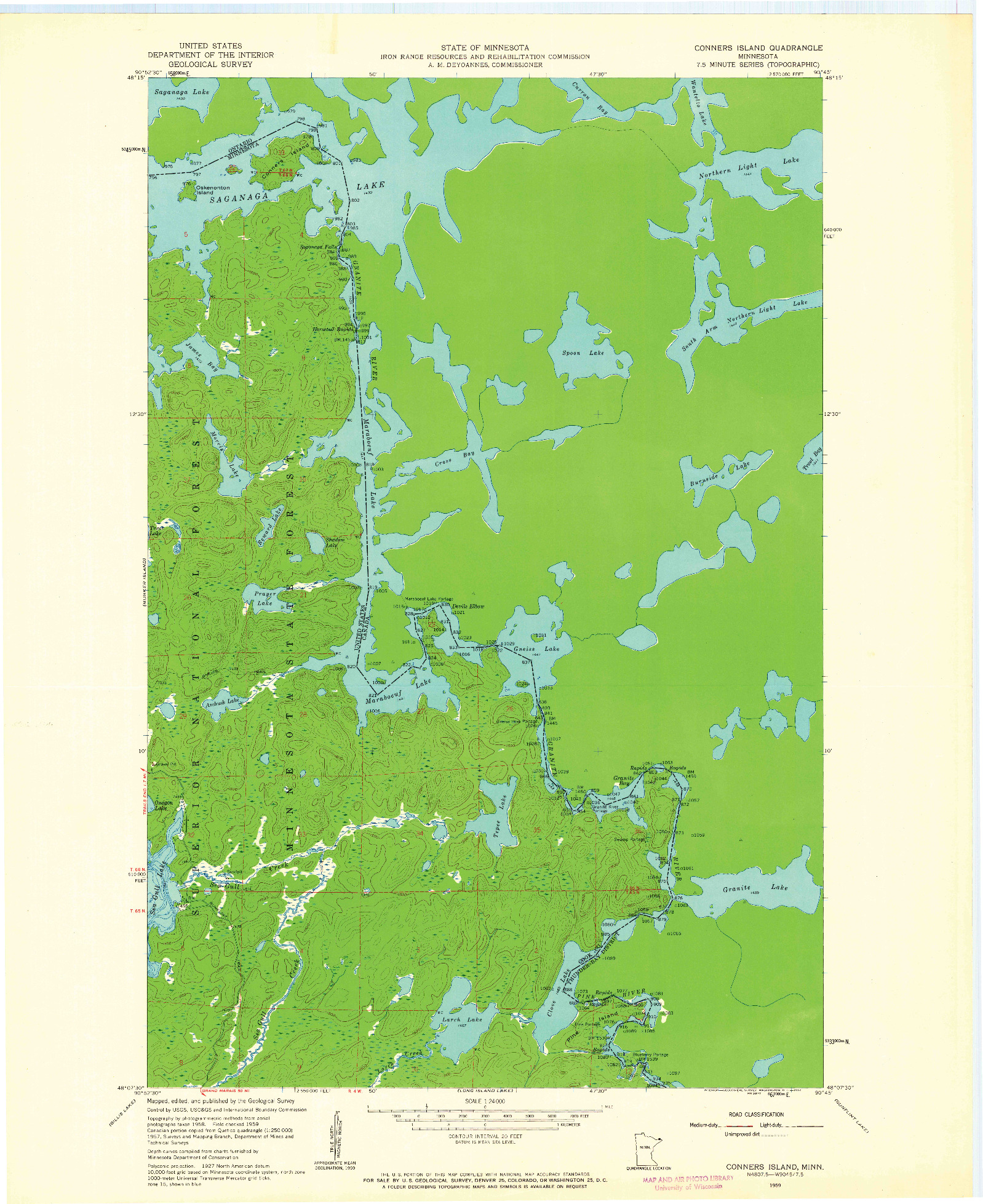 USGS 1:24000-SCALE QUADRANGLE FOR CONNERS ISLAND, MN 1959