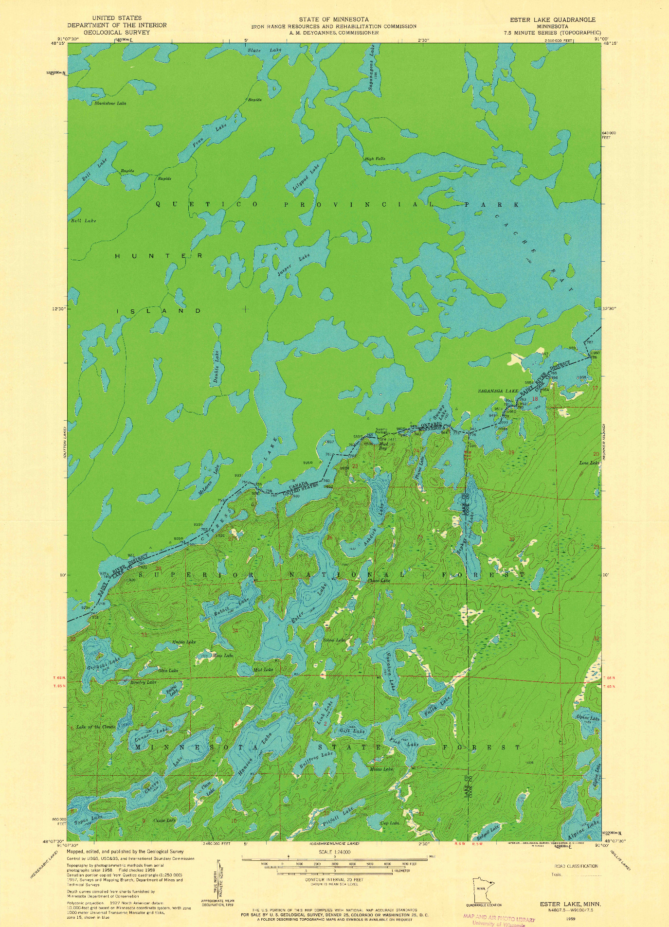 USGS 1:24000-SCALE QUADRANGLE FOR ESTER LAKE, MN 1959