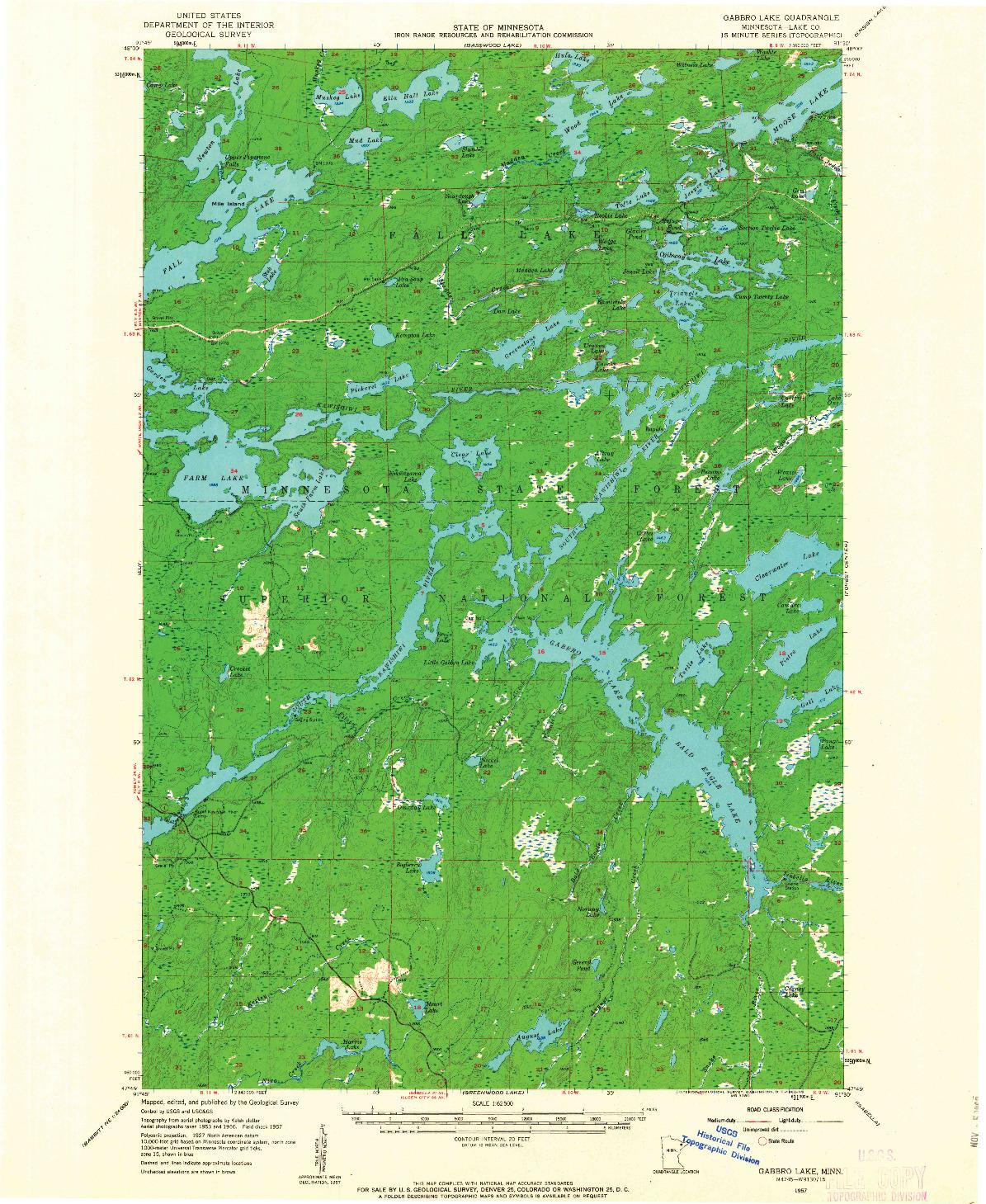 USGS 1:62500-SCALE QUADRANGLE FOR GABBRO LAKE, MN 1957