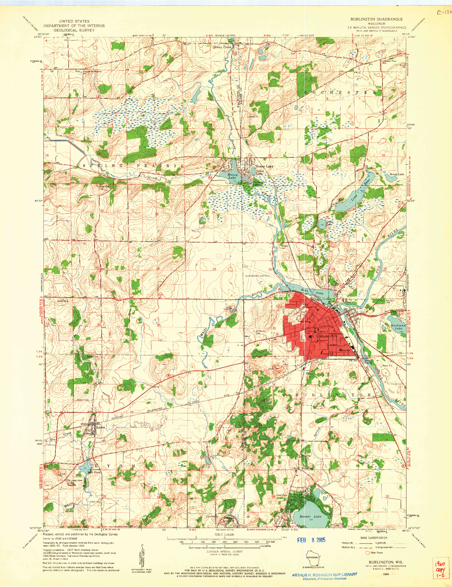USGS 1:24000-SCALE QUADRANGLE FOR BURLINGTON, WI 1960