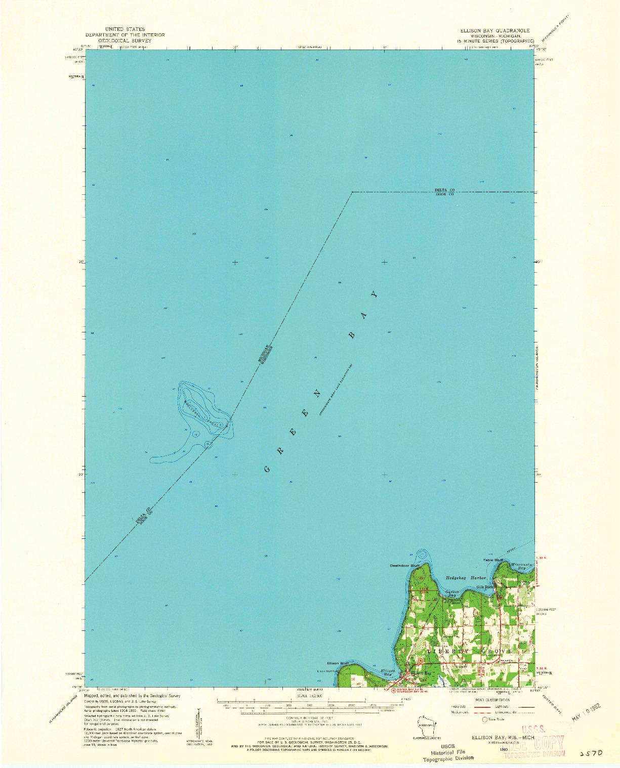 USGS 1:62500-SCALE QUADRANGLE FOR ELLISON BAY, WI 1960