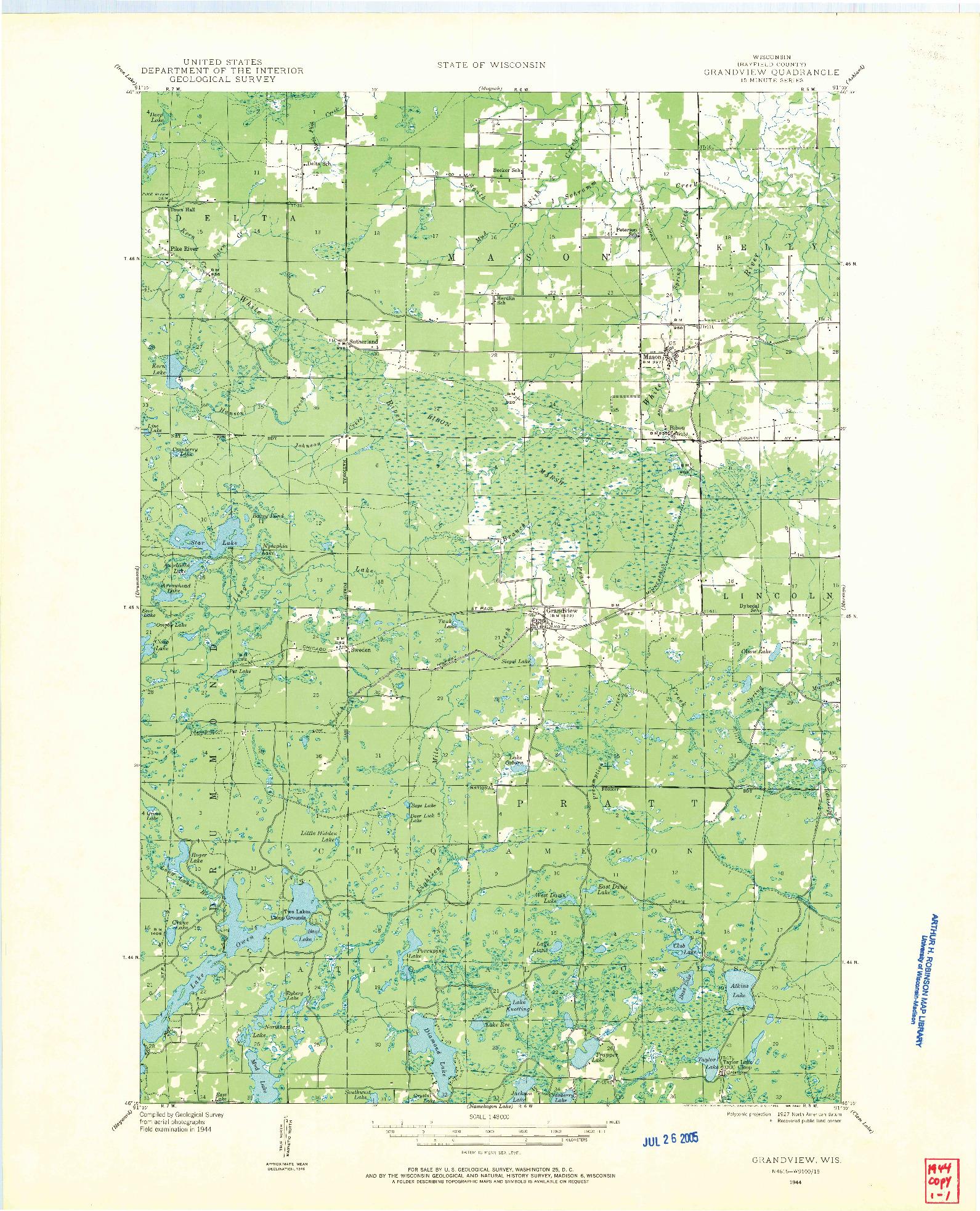 USGS 1:48000-SCALE QUADRANGLE FOR GRANDVIEW, WI 1944