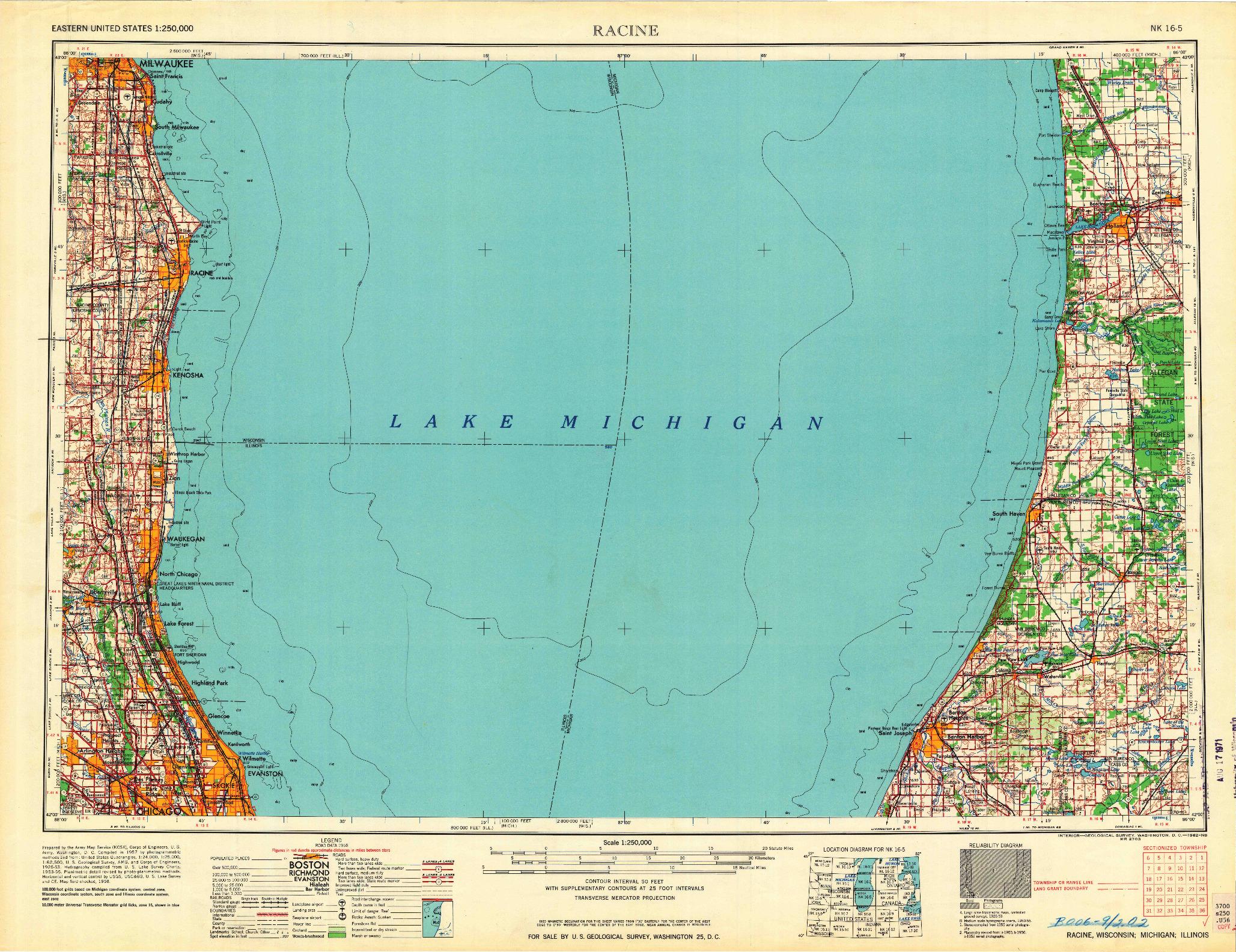 USGS 1:250000-SCALE QUADRANGLE FOR RACINE, WI 1962