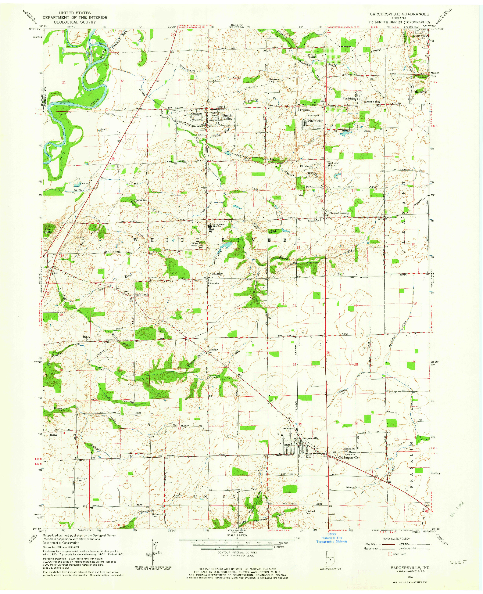 USGS 1:24000-SCALE QUADRANGLE FOR BARGERSVILLE, IN 1962
