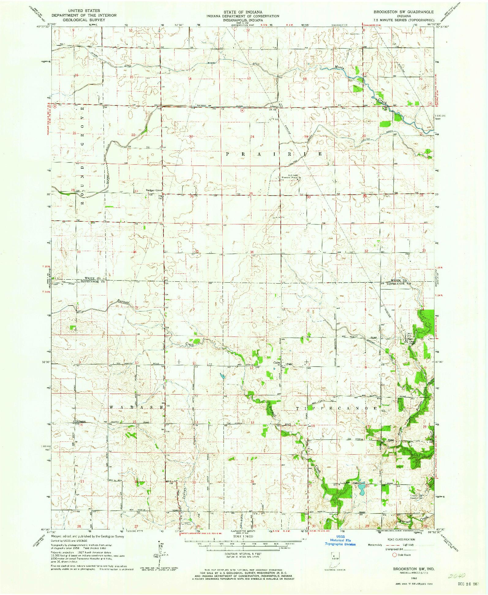 USGS 1:24000-SCALE QUADRANGLE FOR BROOKSTON SW, IN 1962