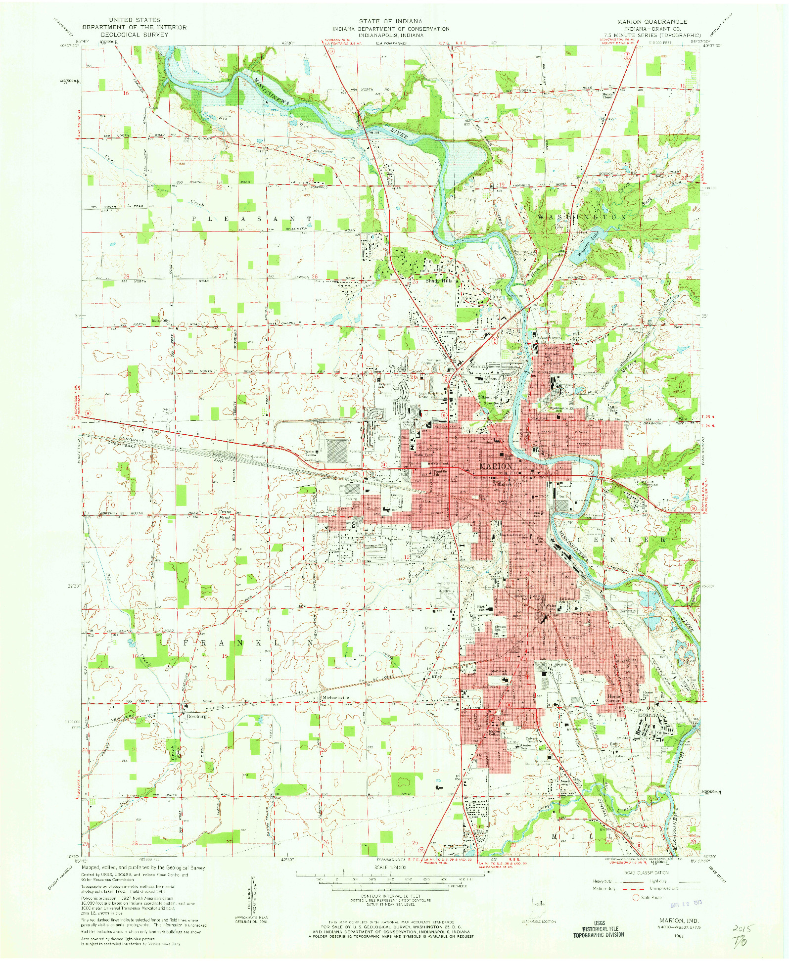 USGS 1:24000-SCALE QUADRANGLE FOR MARION, IN 1961