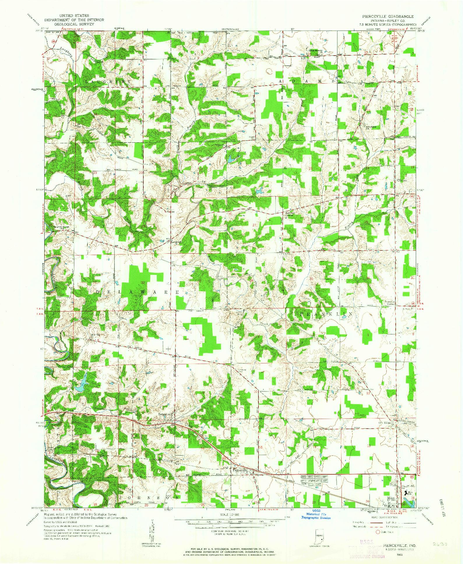 USGS 1:24000-SCALE QUADRANGLE FOR PIERCEVILLE, IN 1961