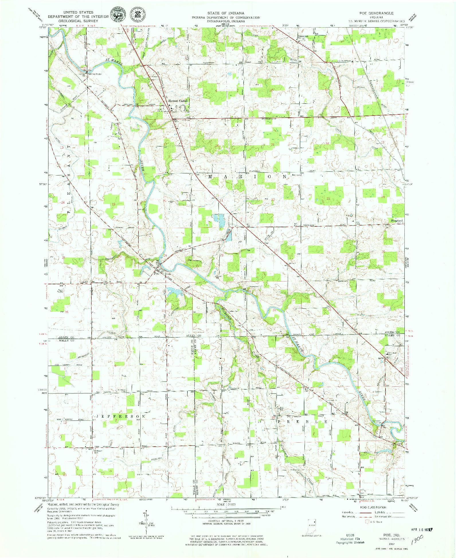USGS 1:24000-SCALE QUADRANGLE FOR POE, IN 1962