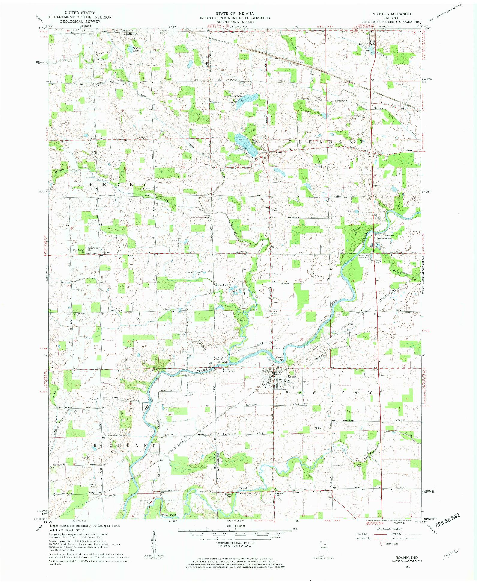 USGS 1:24000-SCALE QUADRANGLE FOR ROANN, IN 1961
