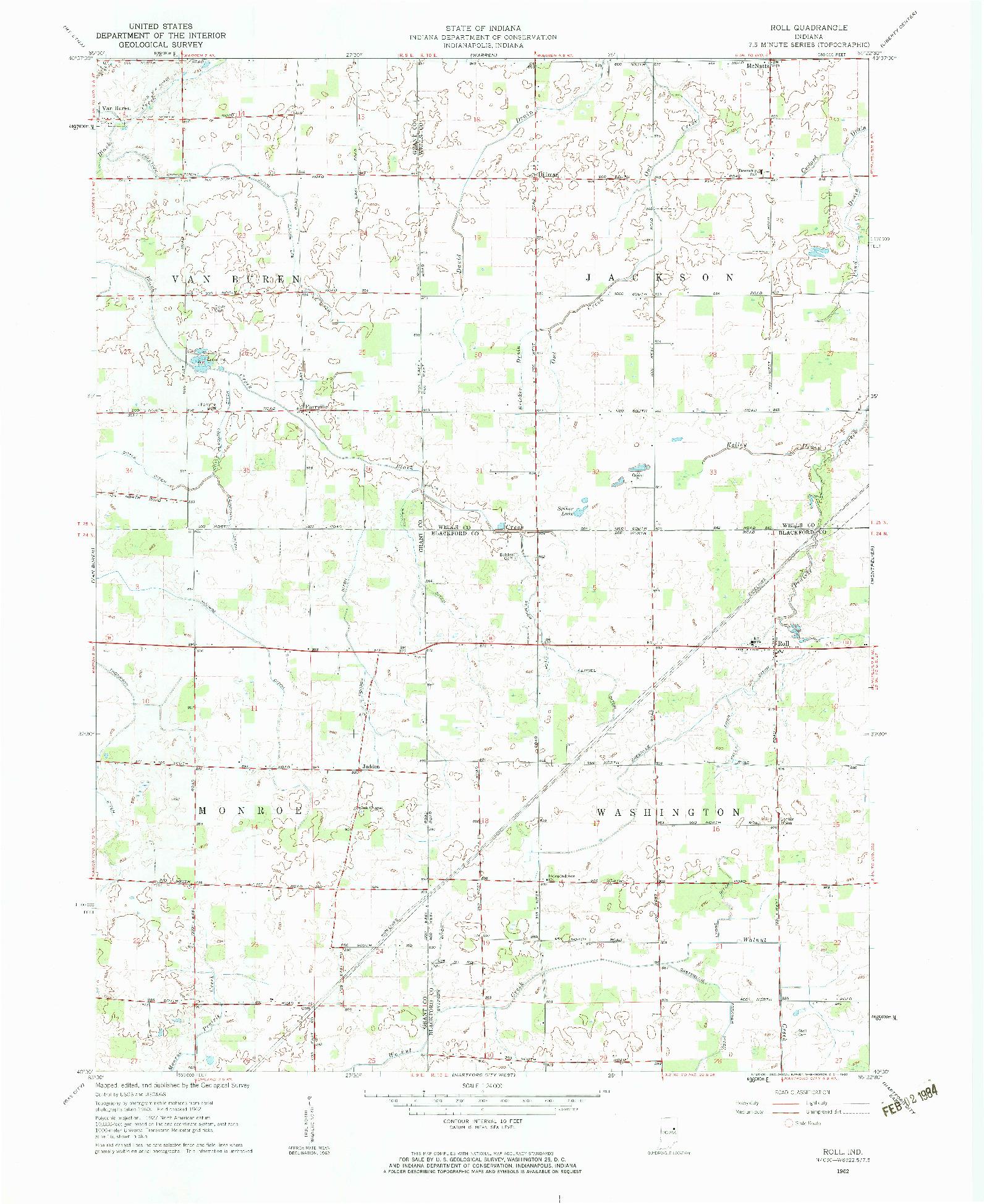 USGS 1:24000-SCALE QUADRANGLE FOR ROLL, IN 1962