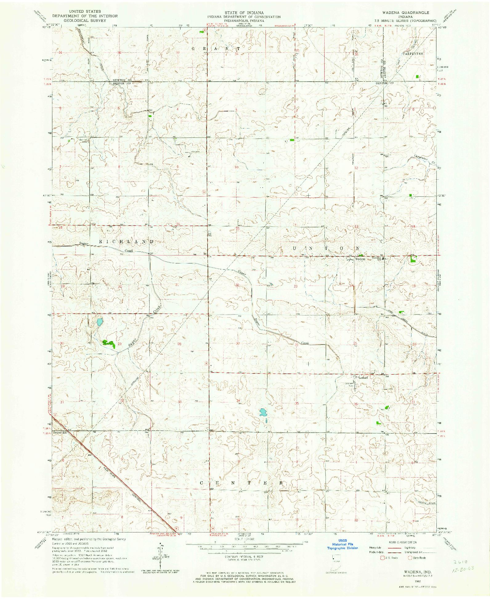 USGS 1:24000-SCALE QUADRANGLE FOR WADENA, IN 1962