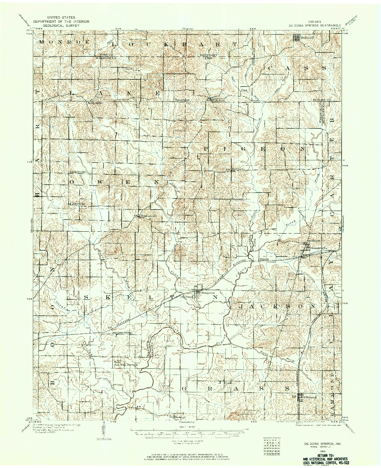 USGS 1:62500-SCALE QUADRANGLE FOR DE GONIA SPRINGS, IN 1900