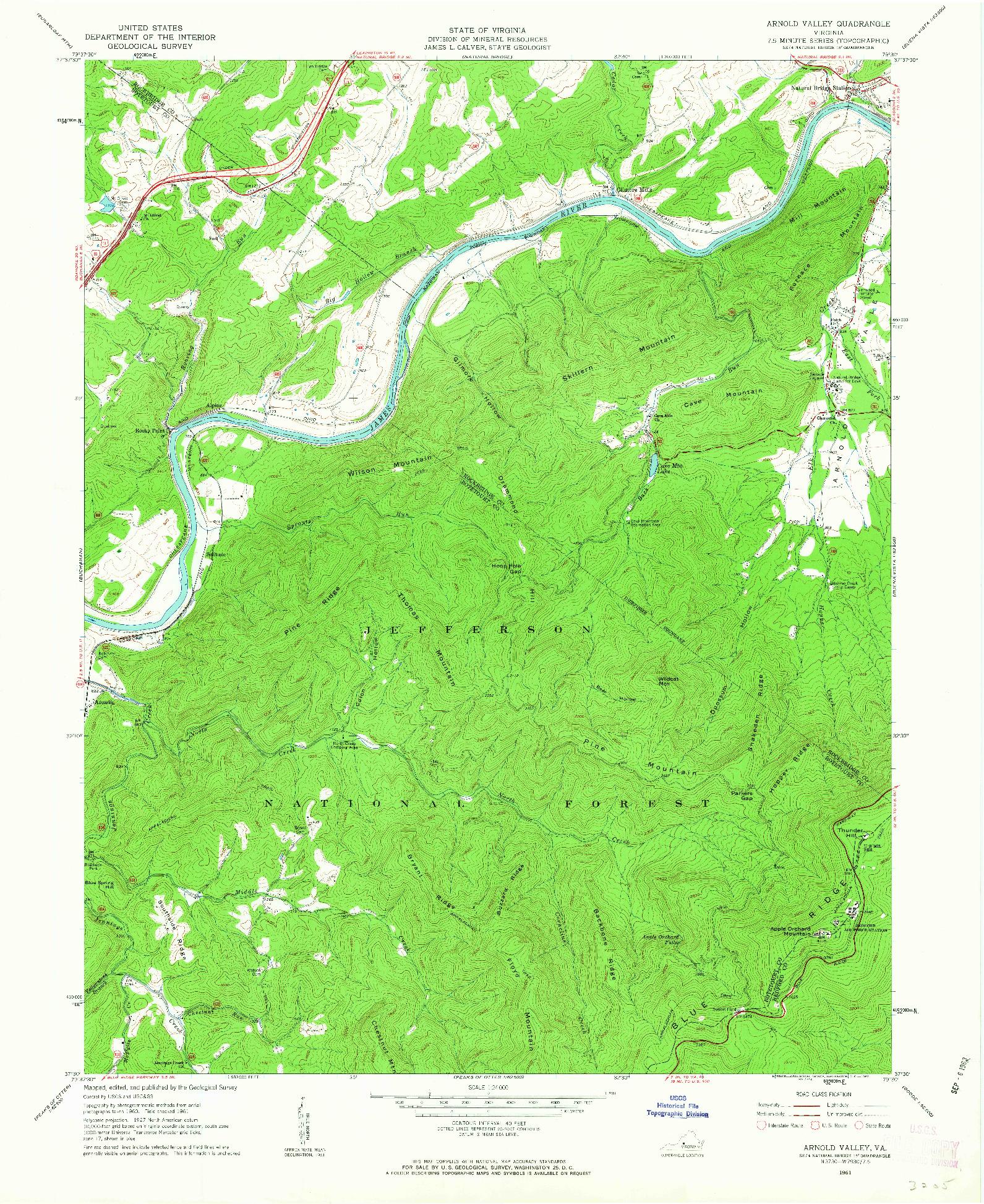 USGS 1:24000-SCALE QUADRANGLE FOR ARNOLD VALLEY, VA 1961