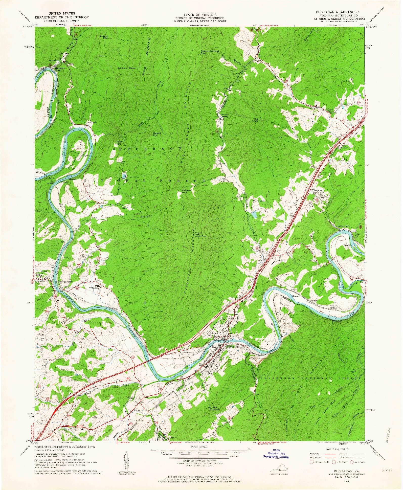 USGS 1:24000-SCALE QUADRANGLE FOR BUCHANAN, VA 1961