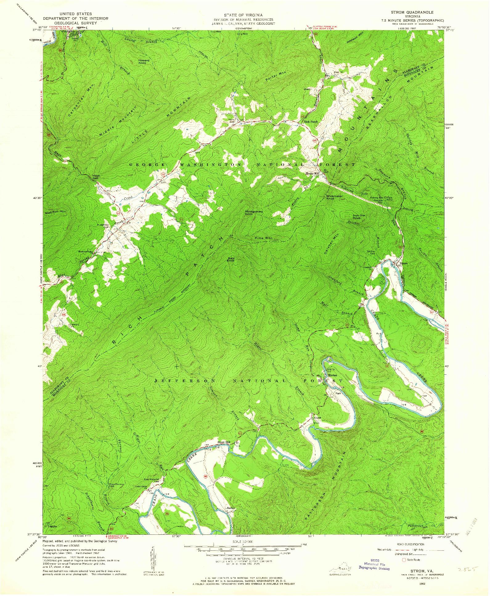 USGS 1:24000-SCALE QUADRANGLE FOR STROM, VA 1962