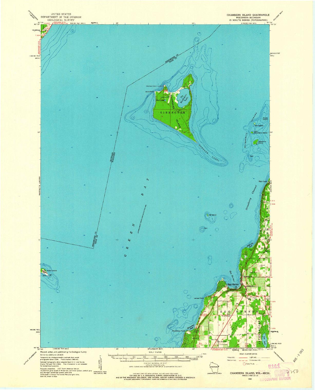 USGS 1:62500-SCALE QUADRANGLE FOR CHAMBERS ISLAND, WI 1961