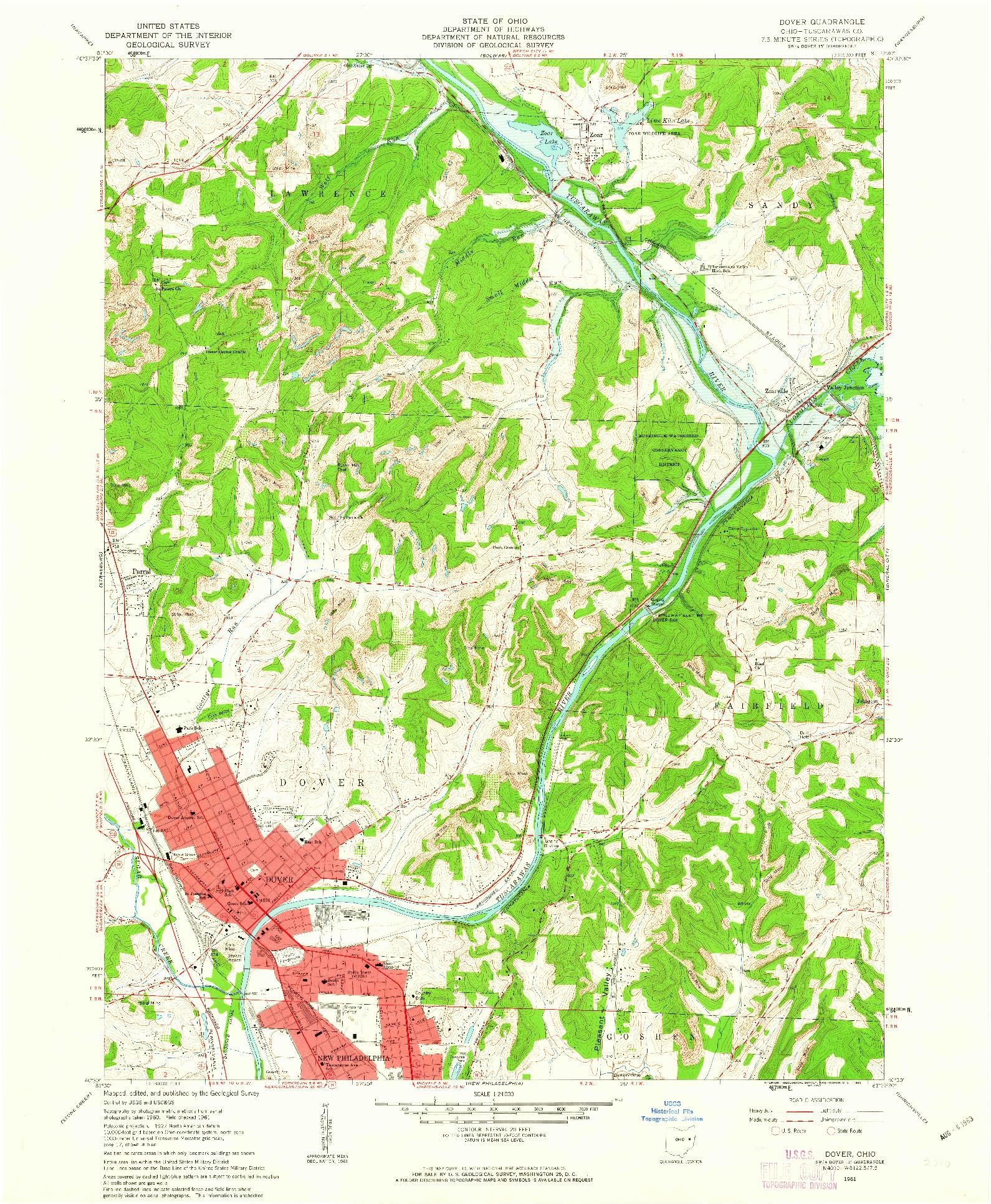 USGS 1:24000-SCALE QUADRANGLE FOR DOVER, OH 1961