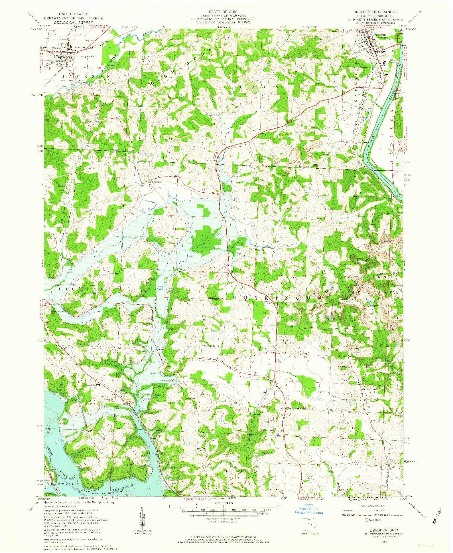 USGS 1:24000-SCALE QUADRANGLE FOR DRESDEN, OH 1962
