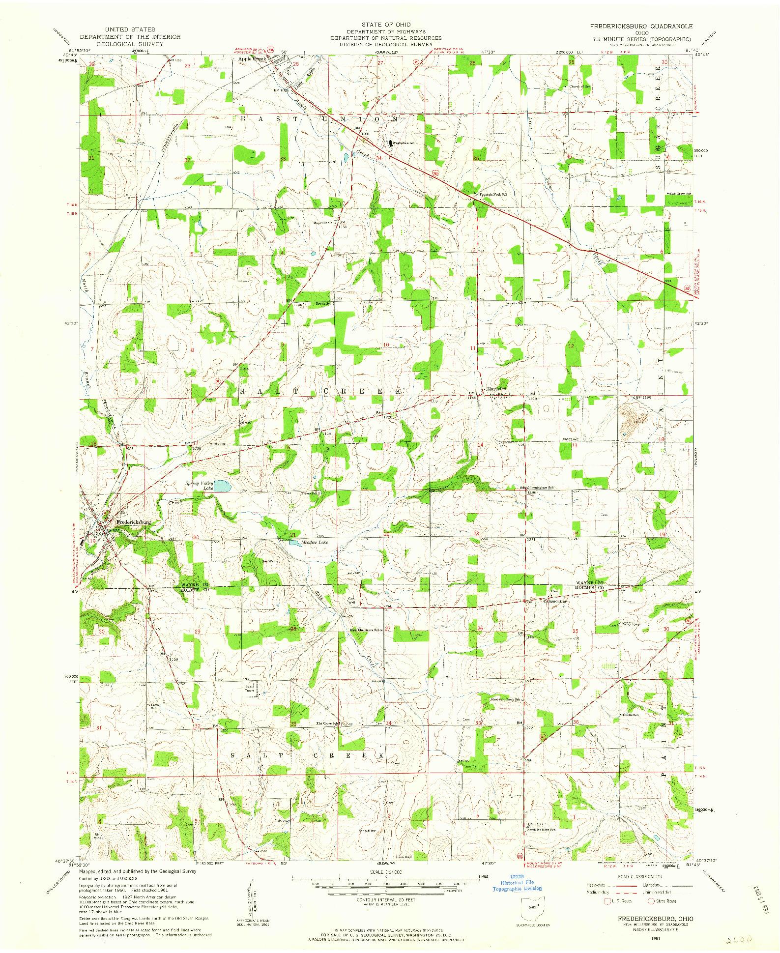 USGS 1:24000-SCALE QUADRANGLE FOR FREDERICKSBURG, OH 1961