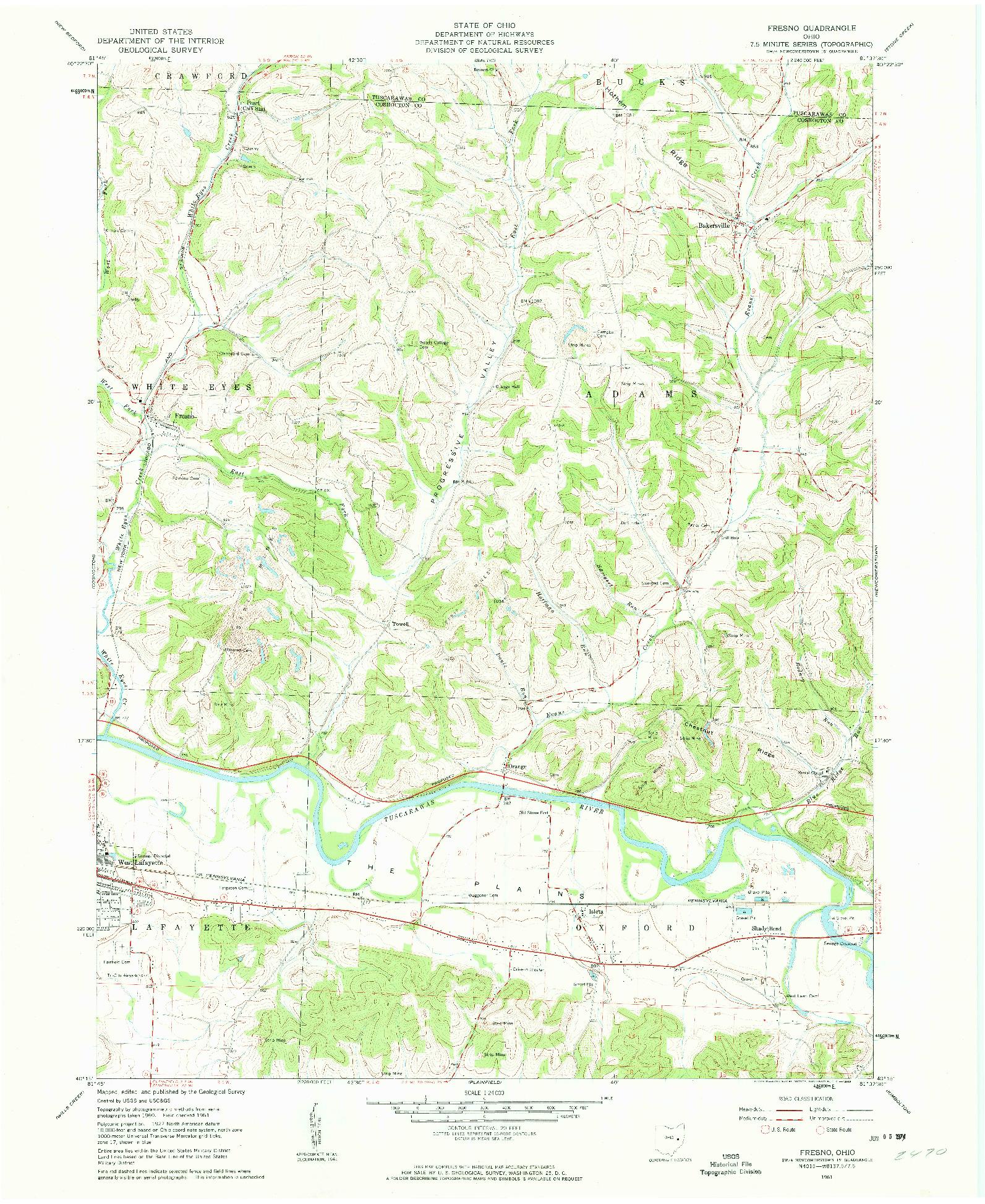 USGS 1:24000-SCALE QUADRANGLE FOR FRESNO, OH 1961