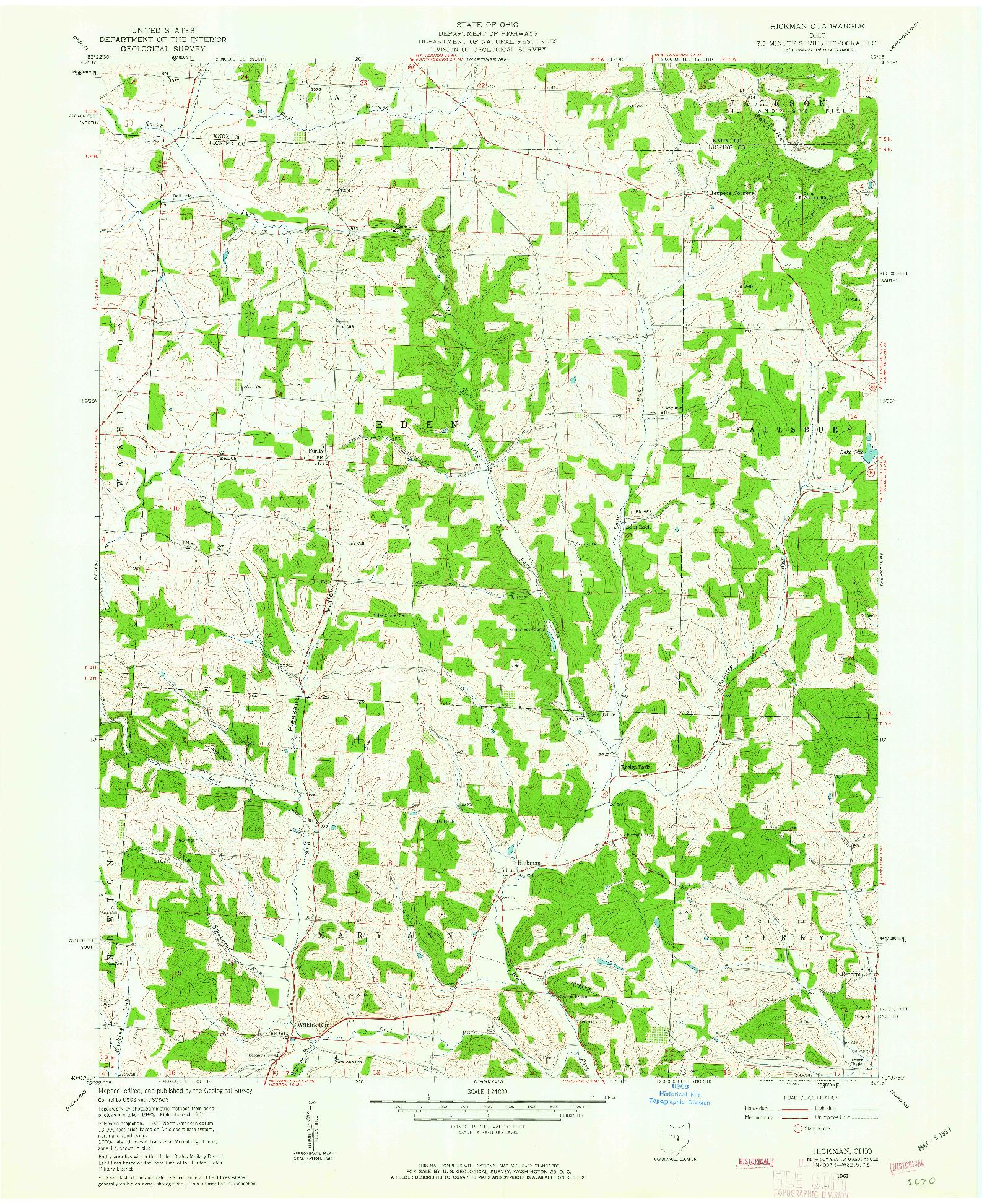USGS 1:24000-SCALE QUADRANGLE FOR HICKMAN, OH 1961