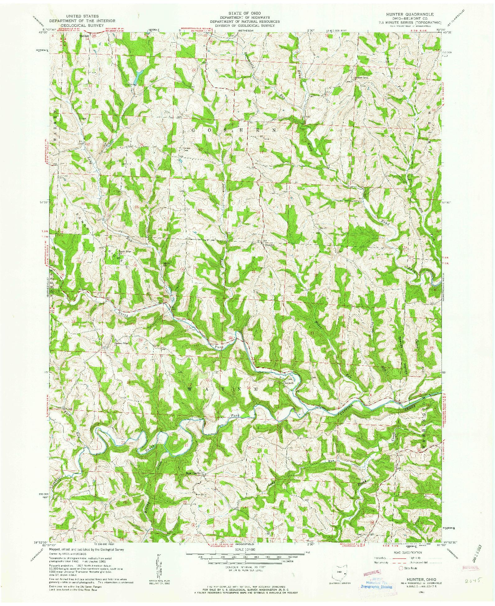 USGS 1:24000-SCALE QUADRANGLE FOR HUNTER, OH 1961