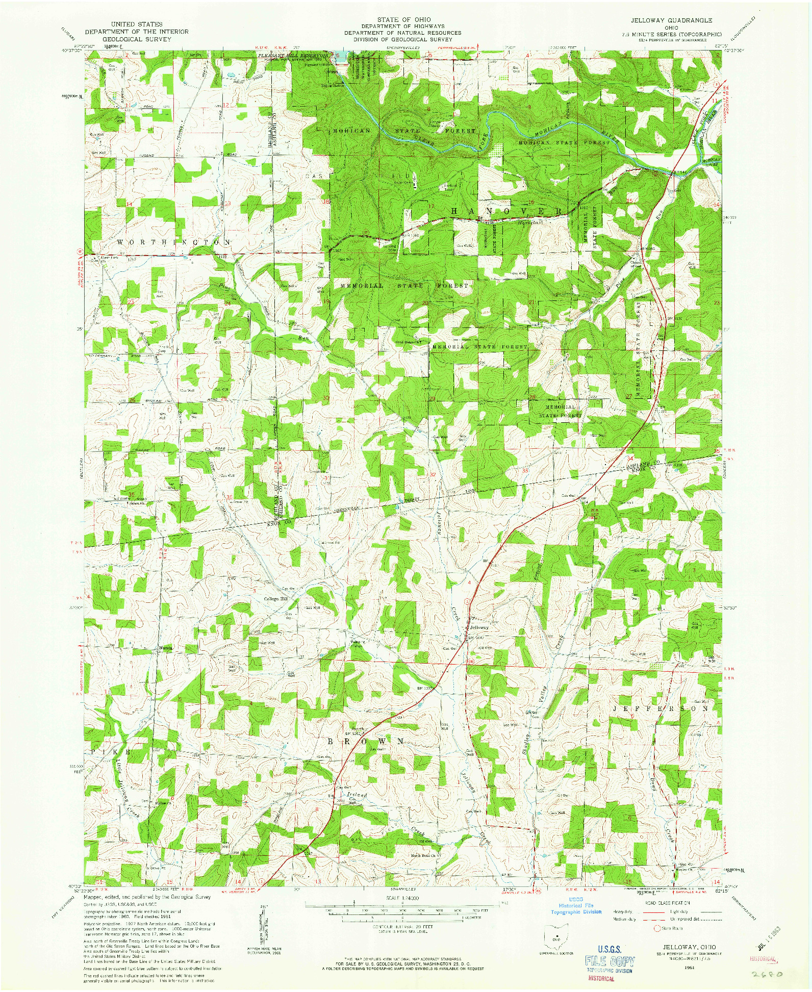 USGS 1:24000-SCALE QUADRANGLE FOR JELLOWAY, OH 1961