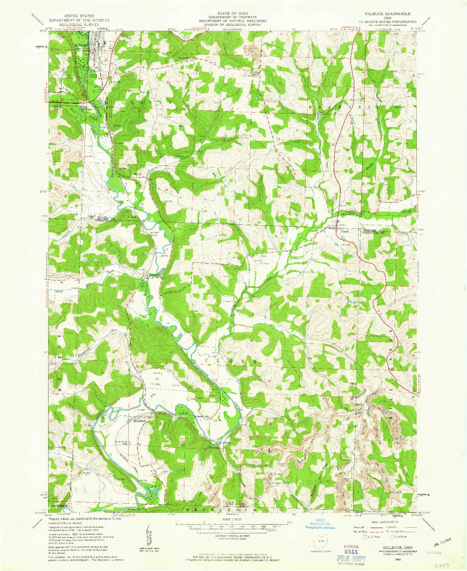 USGS 1:24000-SCALE QUADRANGLE FOR KILLBUCK, OH 1962