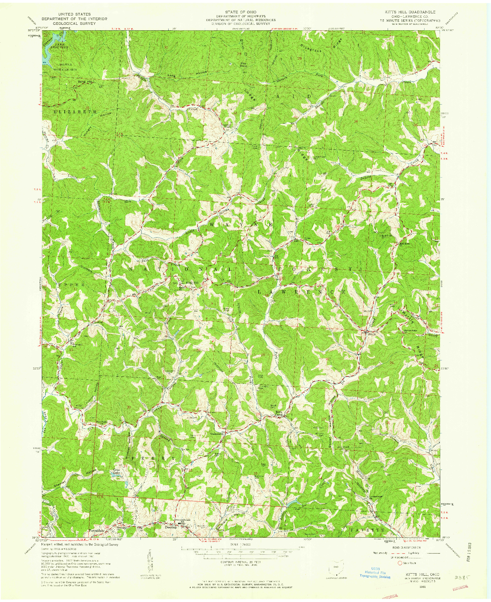 USGS 1:24000-SCALE QUADRANGLE FOR KITTS HILL, OH 1961