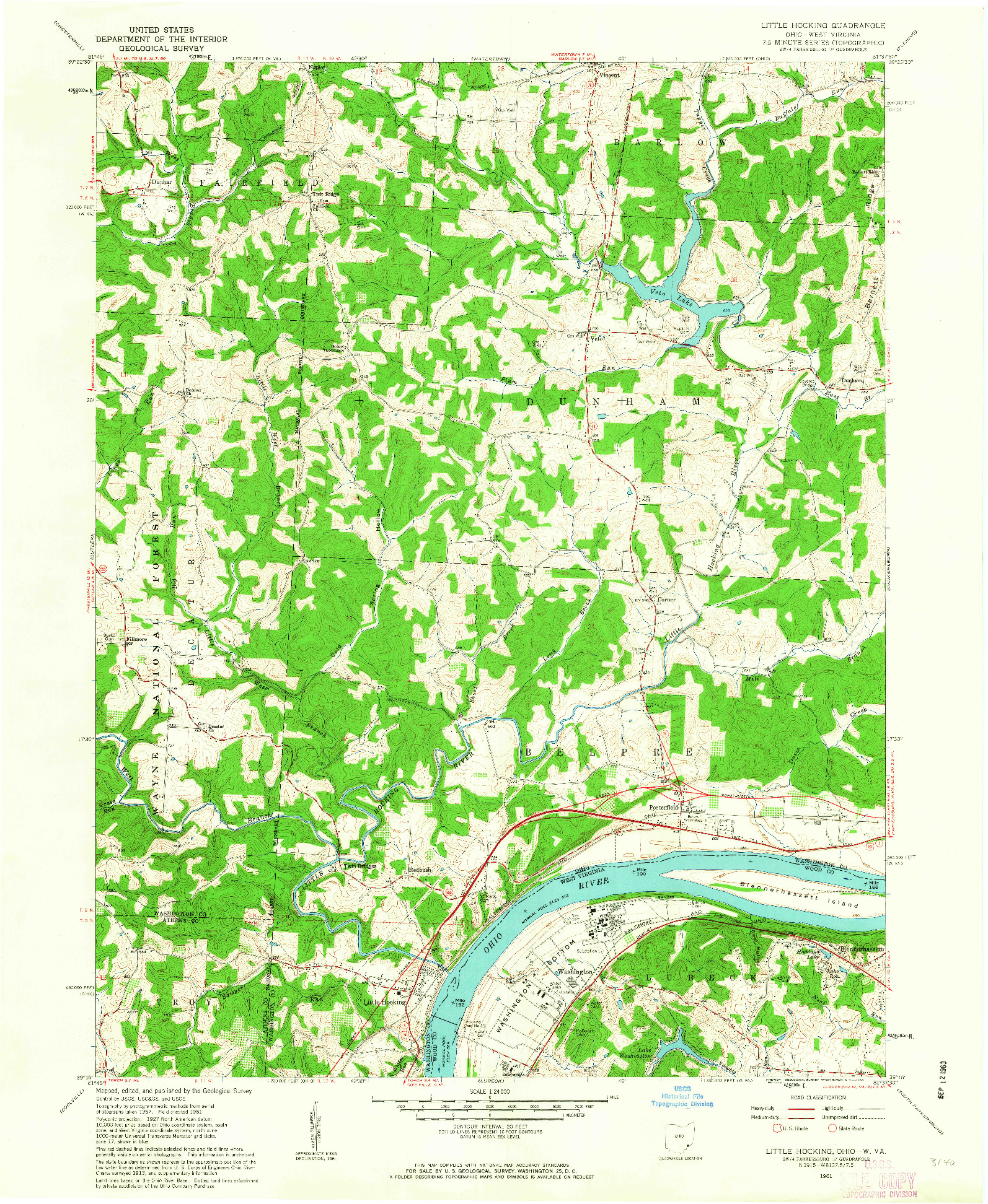 USGS 1:24000-SCALE QUADRANGLE FOR LITTLE HOCKING, OH 1961