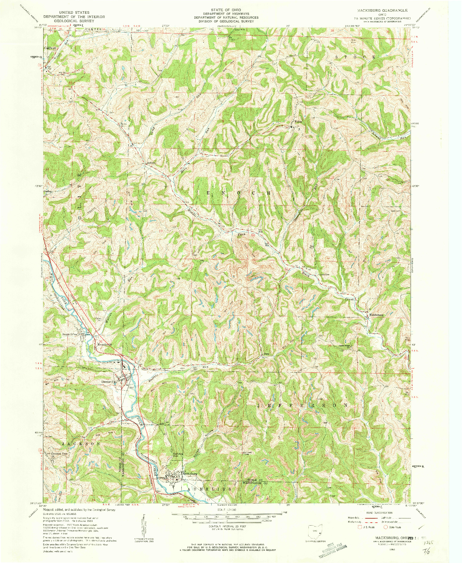 USGS 1:24000-SCALE QUADRANGLE FOR MACKSBURG, OH 1961