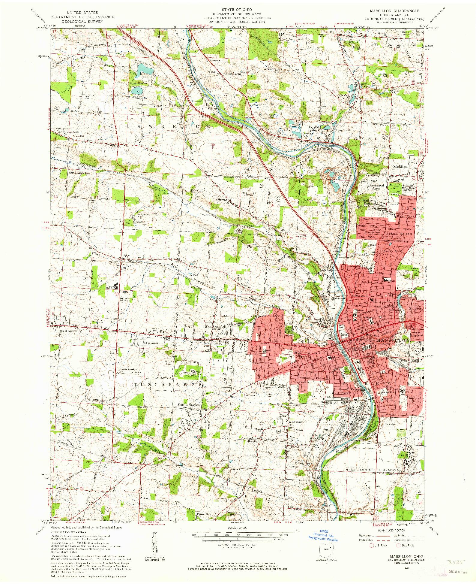 USGS 1:24000-SCALE QUADRANGLE FOR MASSILLON, OH 1961