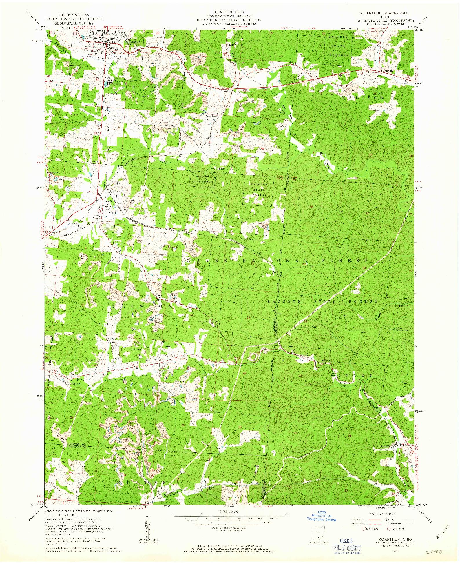 USGS 1:24000-SCALE QUADRANGLE FOR MC ARTHUR, OH 1961