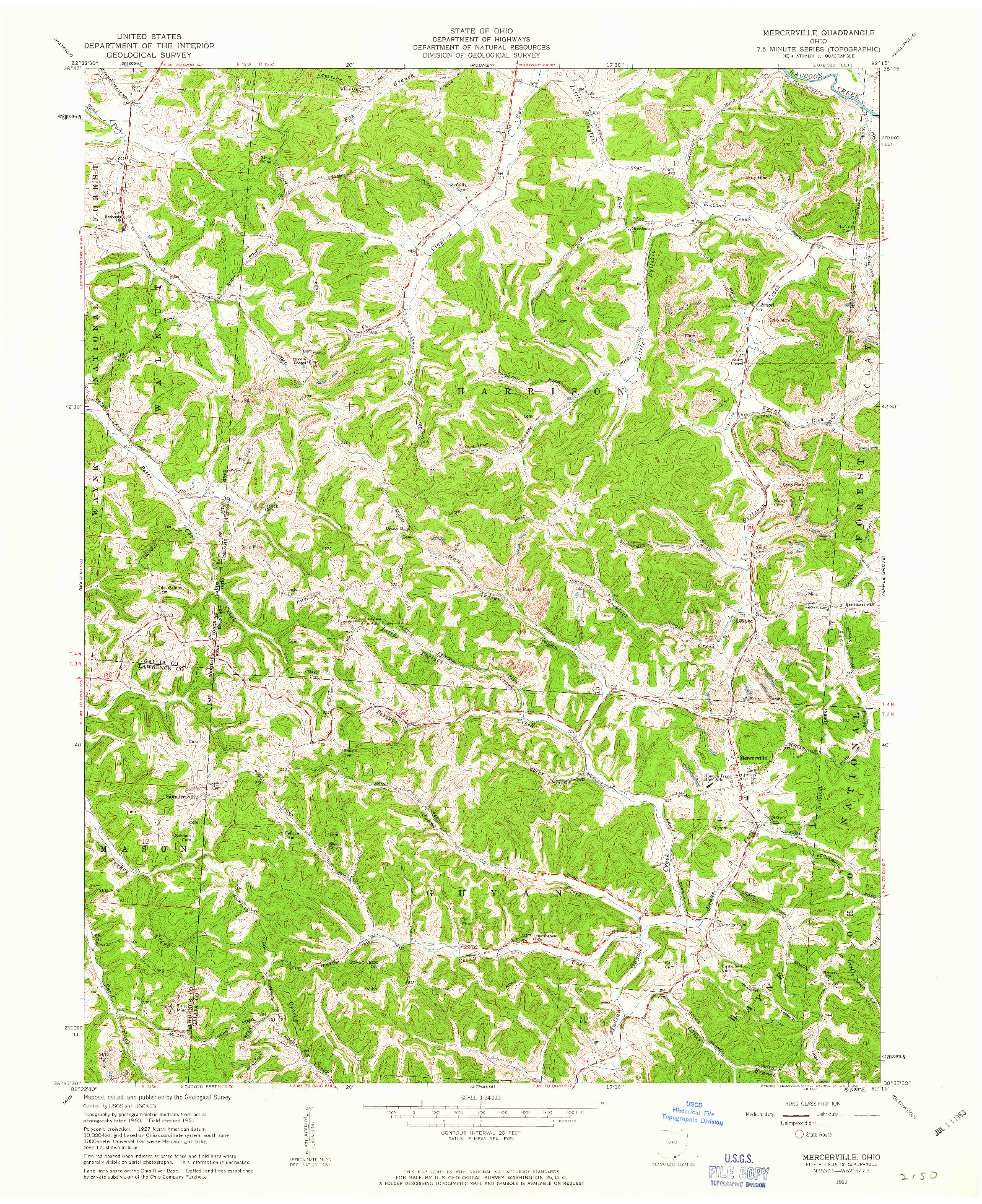 USGS 1:24000-SCALE QUADRANGLE FOR MERCERVILLE, OH 1961
