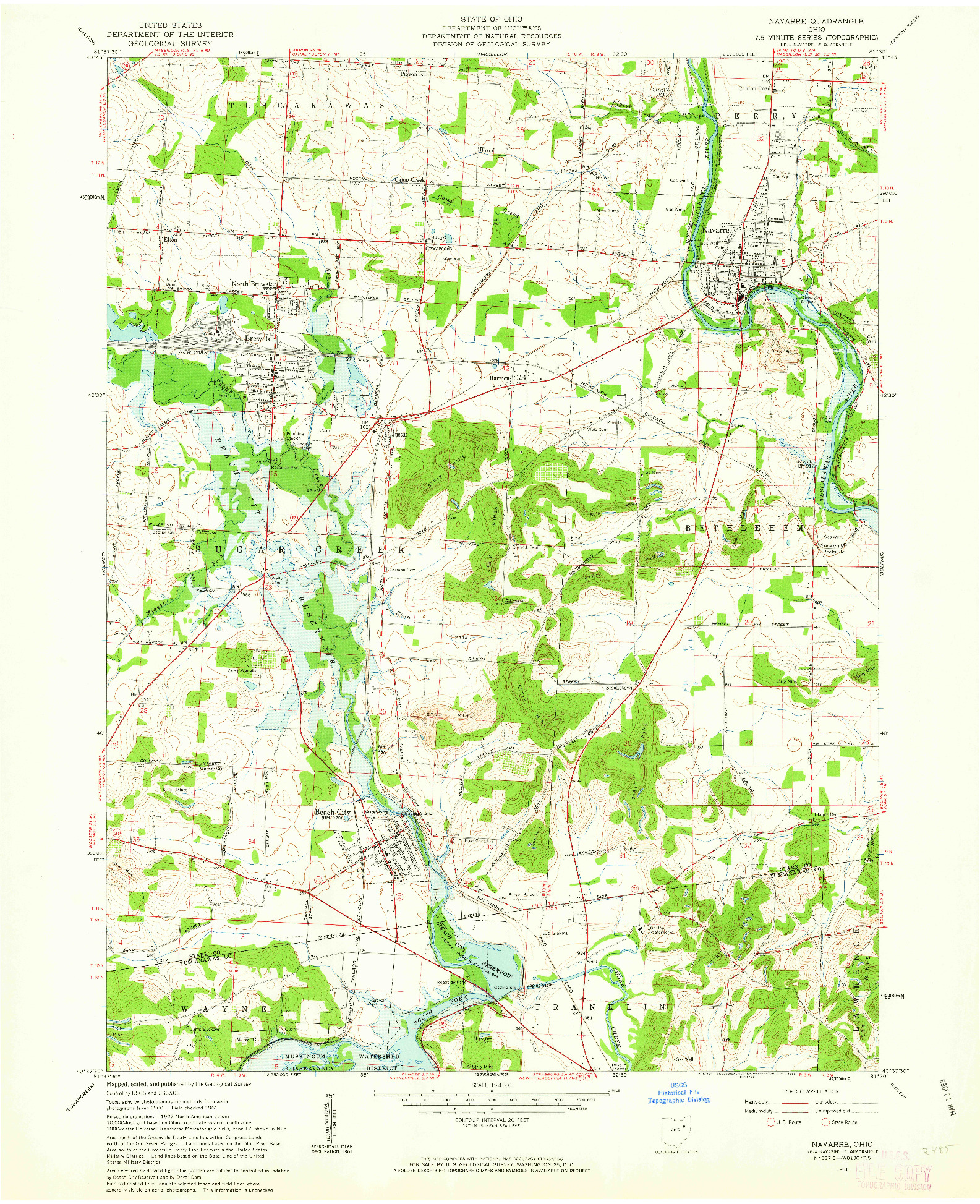 USGS 1:24000-SCALE QUADRANGLE FOR NAVARRE, OH 1961
